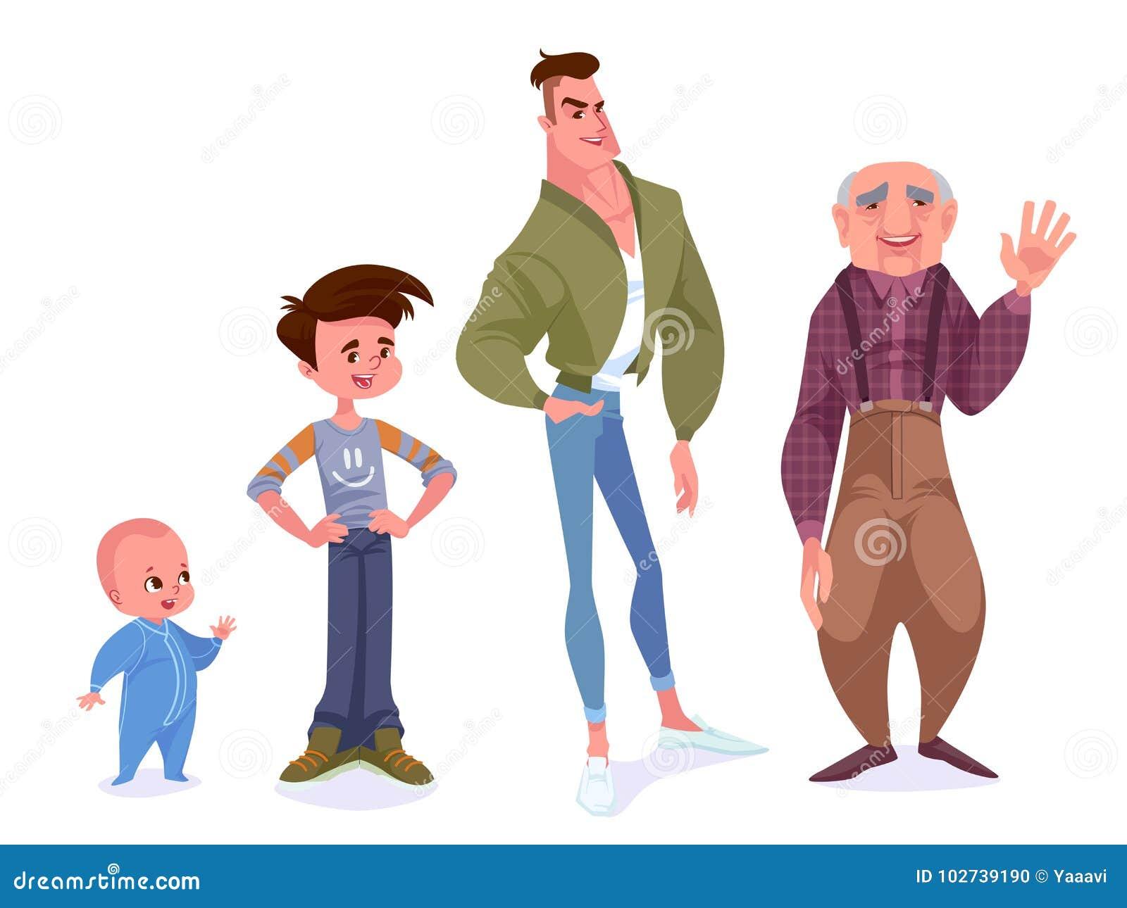 Έννοια γήρανσης των αρσενικών χαρακτήρων Ο κύκλος της ζωής από το childho