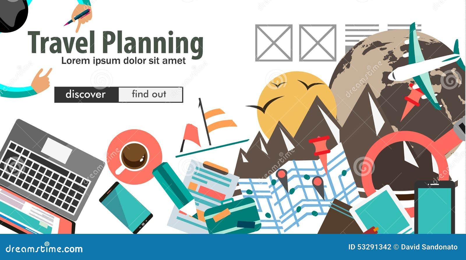 Έννοια για την οργάνωση ταξιδιού και τον προγραμματισμό ταξιδιού