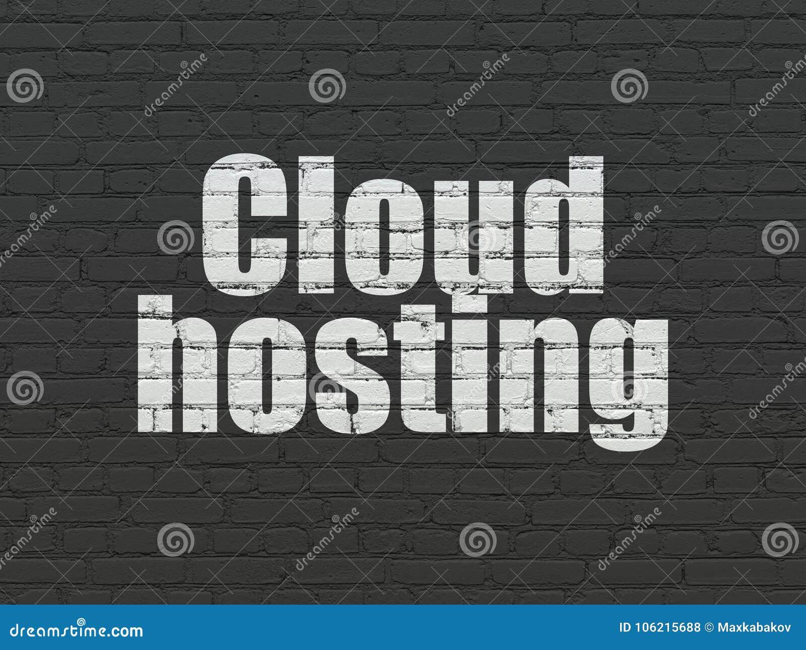 Έννοια δικτύωσης σύννεφων: Φιλοξενία σύννεφων στο υπόβαθρο τοίχων