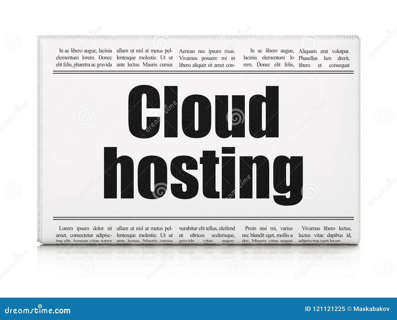 Έννοια δικτύωσης σύννεφων: φιλοξενία σύννεφων τίτλων εφημερίδων