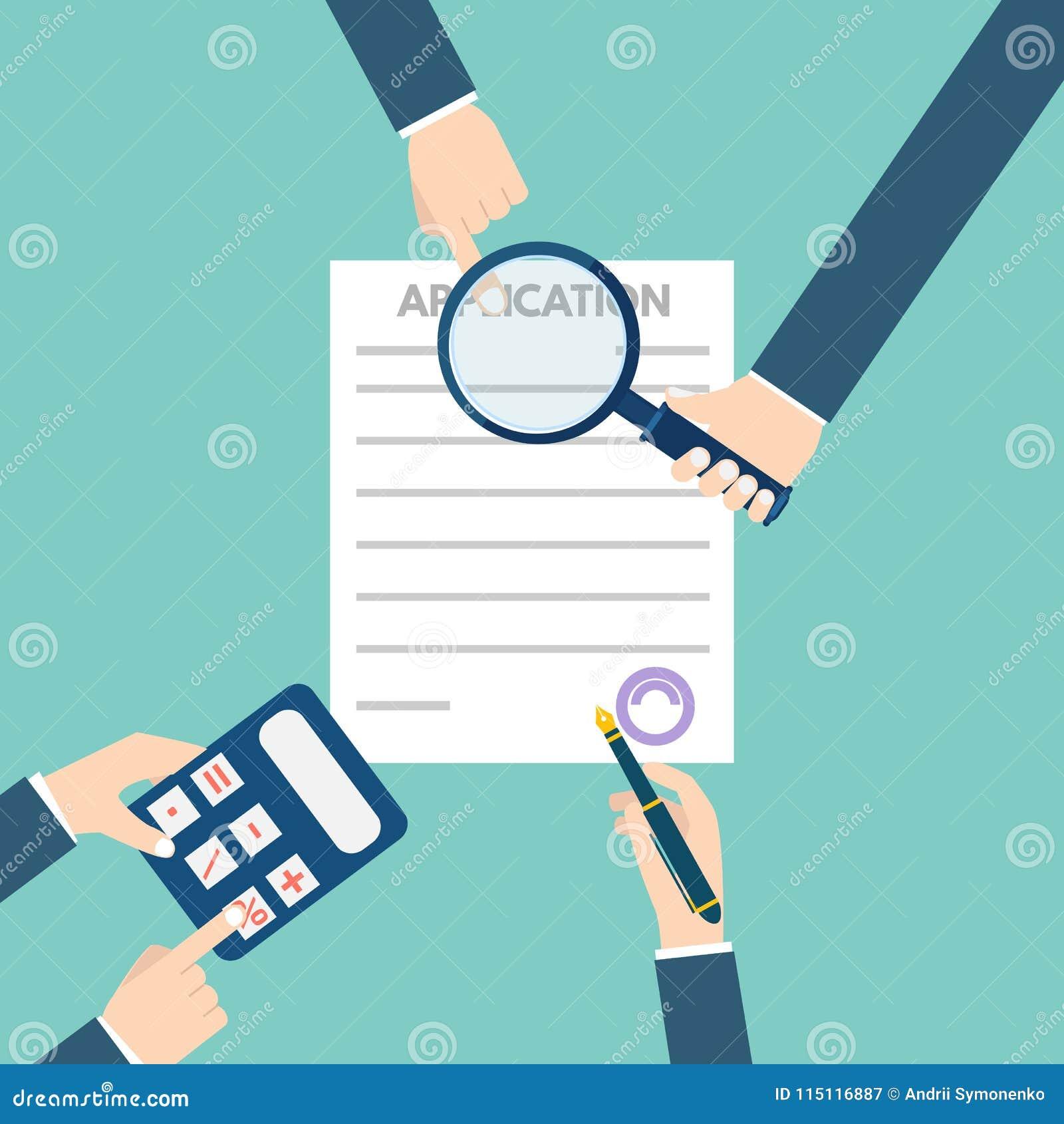 Έννοια εγγράφων αίτησης υποψηφιότητας δανείου επίσης corel σύρετε το διάνυσμα απεικόνισης
