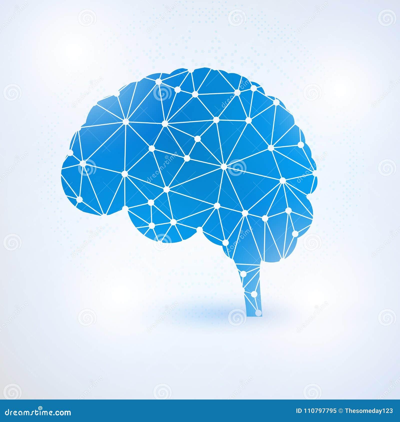 Έννοια εγκεφάλου τεχνητής νοημοσύνης με τα δυαδικά ψηφία