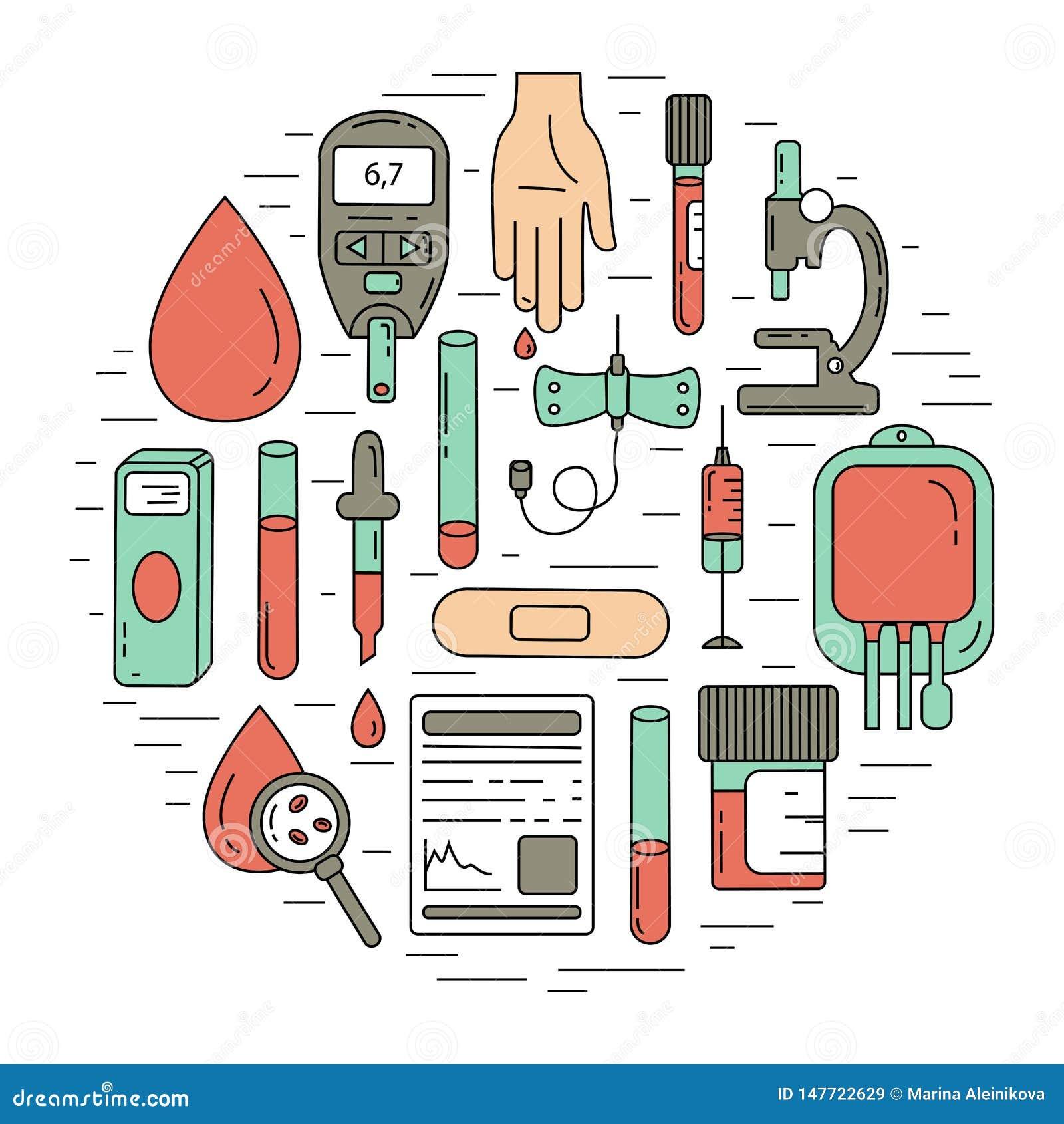 Έννοια εξετάσεων αίματος Διανυσματική απεικόνιση με τα στοιχεία ανάλυσης αίματος