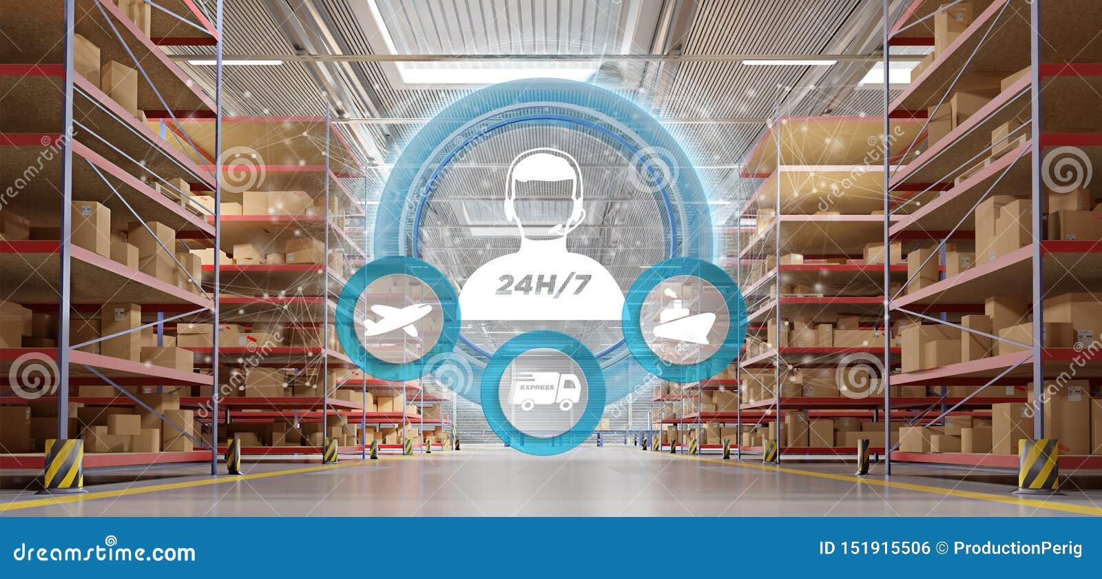 Έννοια εξυπηρέτησης πελατών σε μια τρισδιάστατη απόδοση υποβάθρου αποθηκών εμπορευμάτων