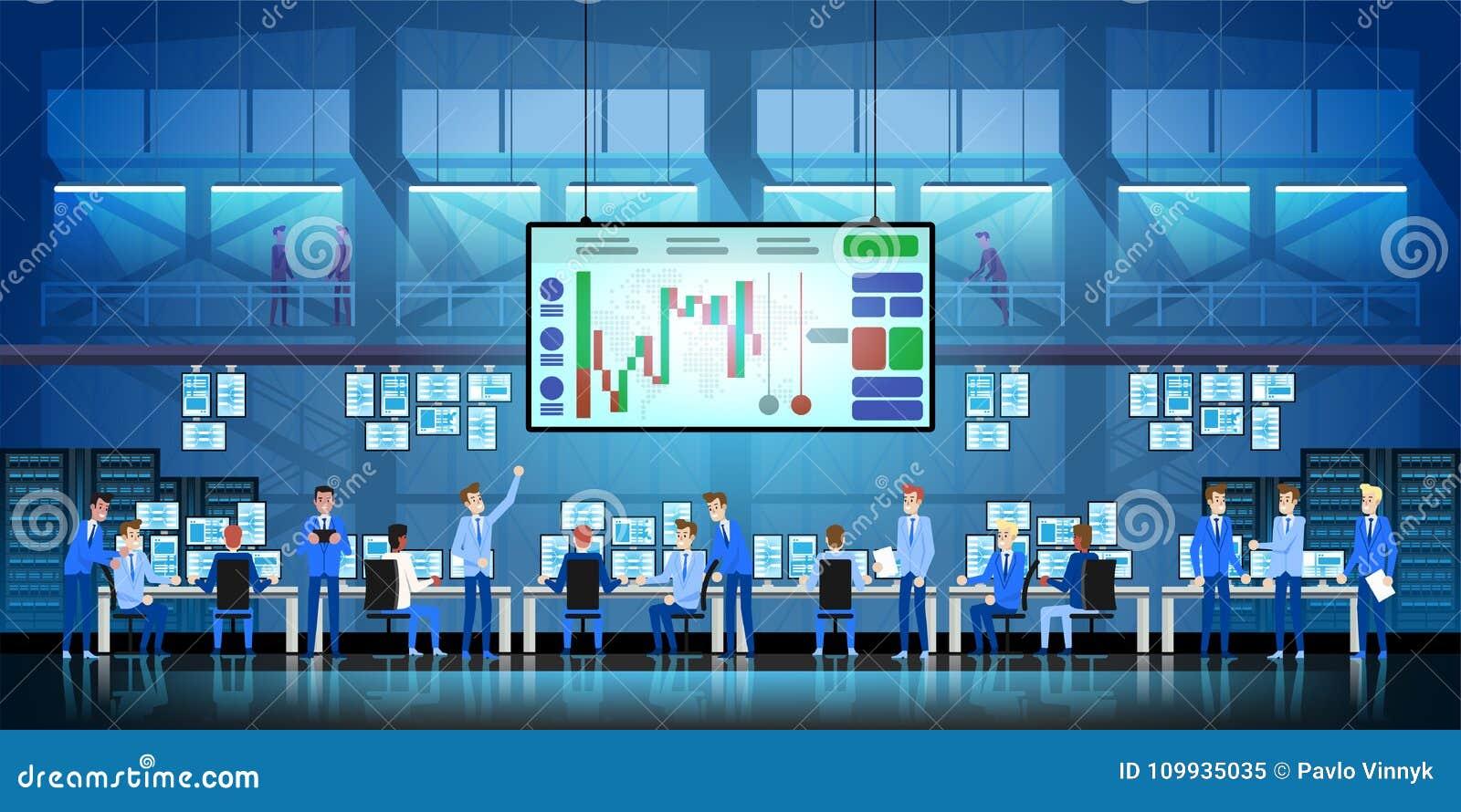 Έννοια επιτυχίας εργασίας επιχειρησιακών ομάδων On-line κάνοντας εμπόριο Μεσιτεία που κάνει εμπόριο στο διάνυσμα χρηματιστηρίου σ