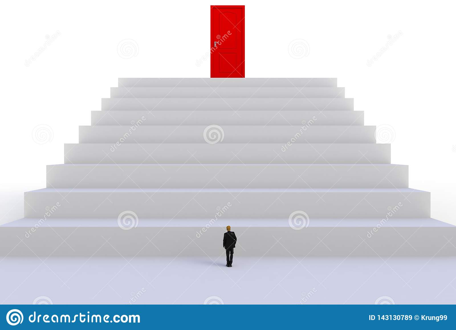 Έννοια επιτυχίας με τον επιχειρηματία, εικόνα του μικροσκοπικού επιχειρηματία που στέκεται μπροστά από την κόκκινη πόρτα στο άσπρ