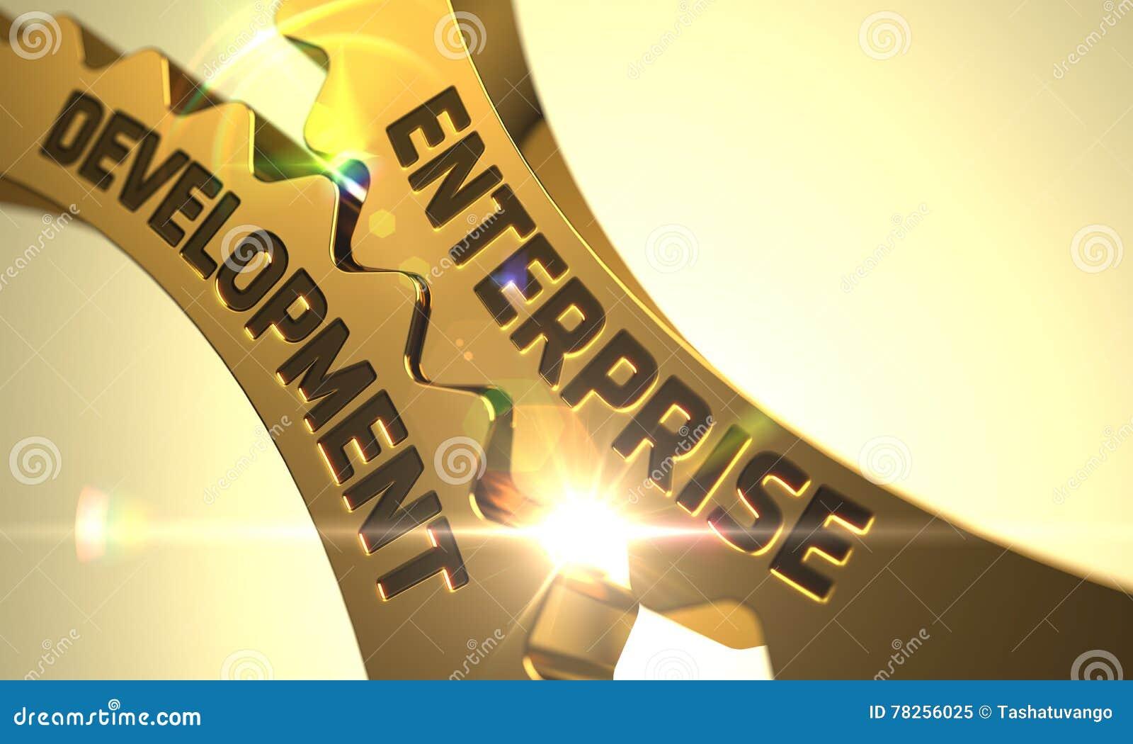 Έννοια επιχειρηματικής ανάπτυξης Χρυσά μεταλλικά εργαλεία τρισδιάστατος
