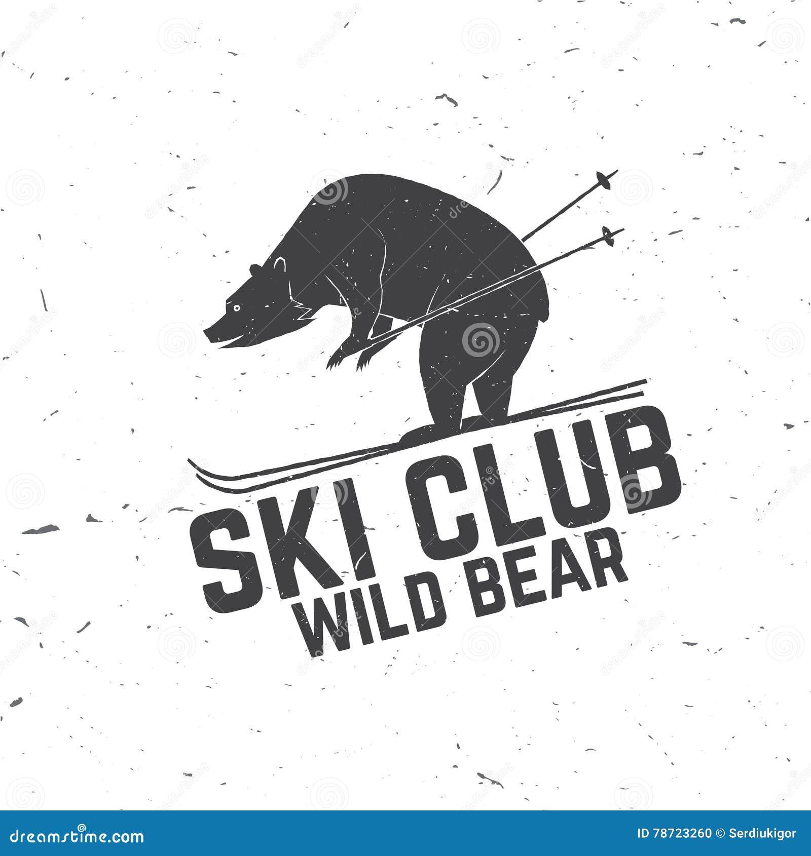 Έννοια λεσχών σκι με την αρκούδα