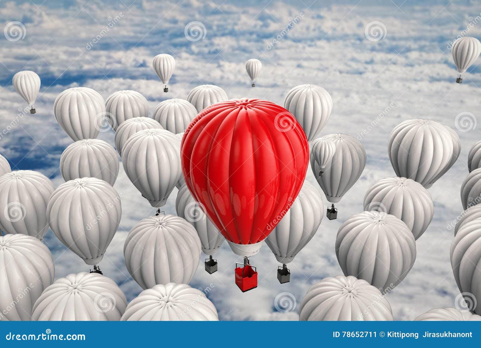 Έννοια ηγεσίας με το κόκκινο - μπαλόνι ζεστού αέρα