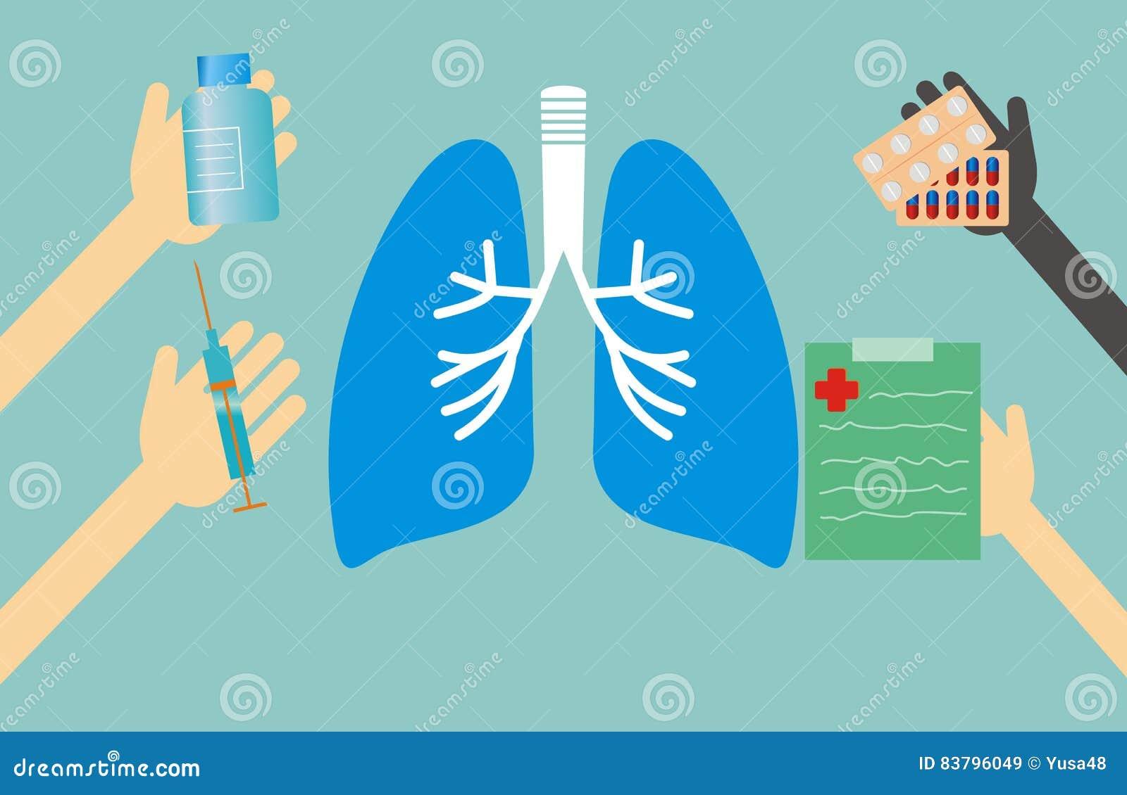 Έννοια ιατρικής - μορφή και χέρια πνευμόνων με τα ιατρικά πράγματα