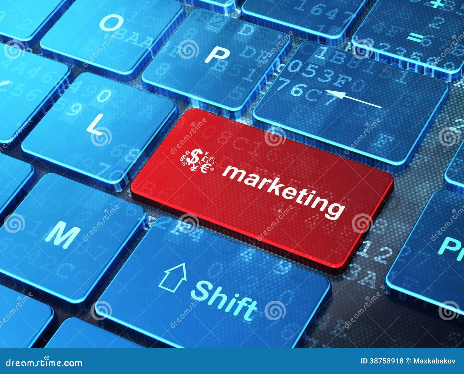 Έννοια διαφήμισης: Σύμβολο χρηματοδότησης και μάρκετινγκ στο υπόβαθρο πληκτρολογίων υπολογιστών