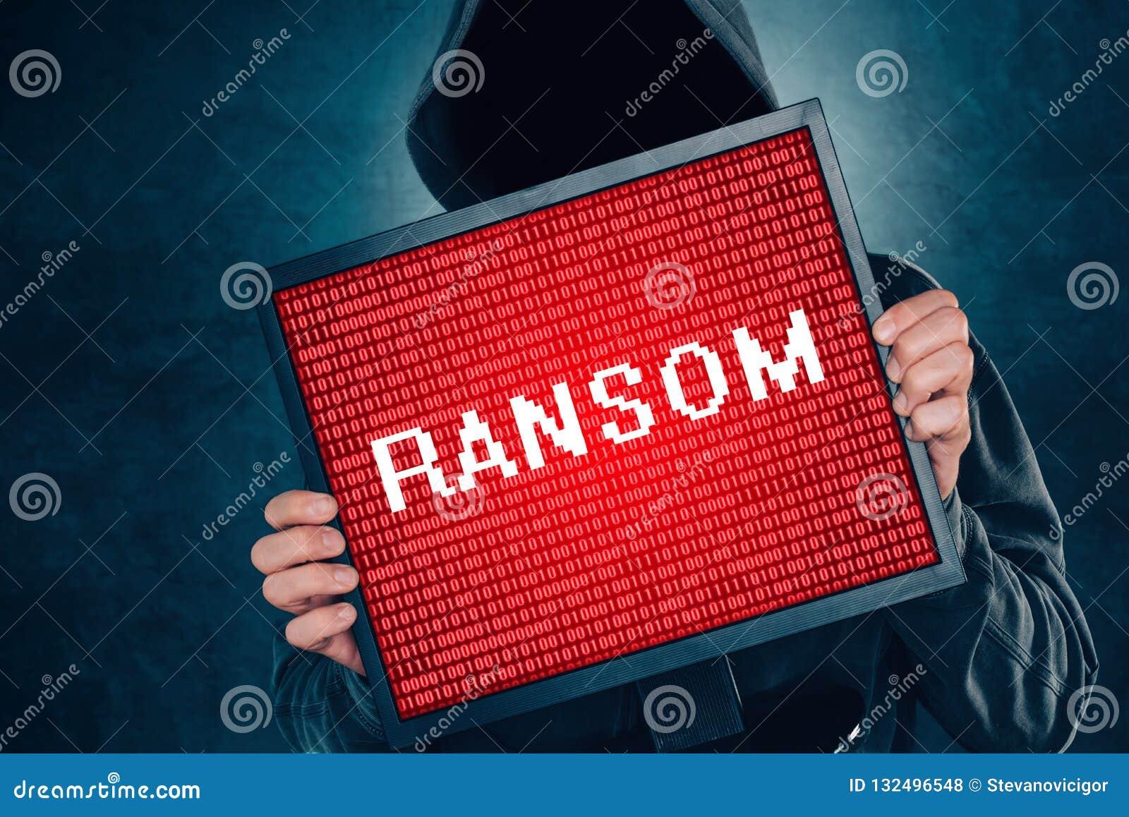 Έννοια ιών υπολογιστών Ransomware, χάκερ με το όργανο ελέγχου