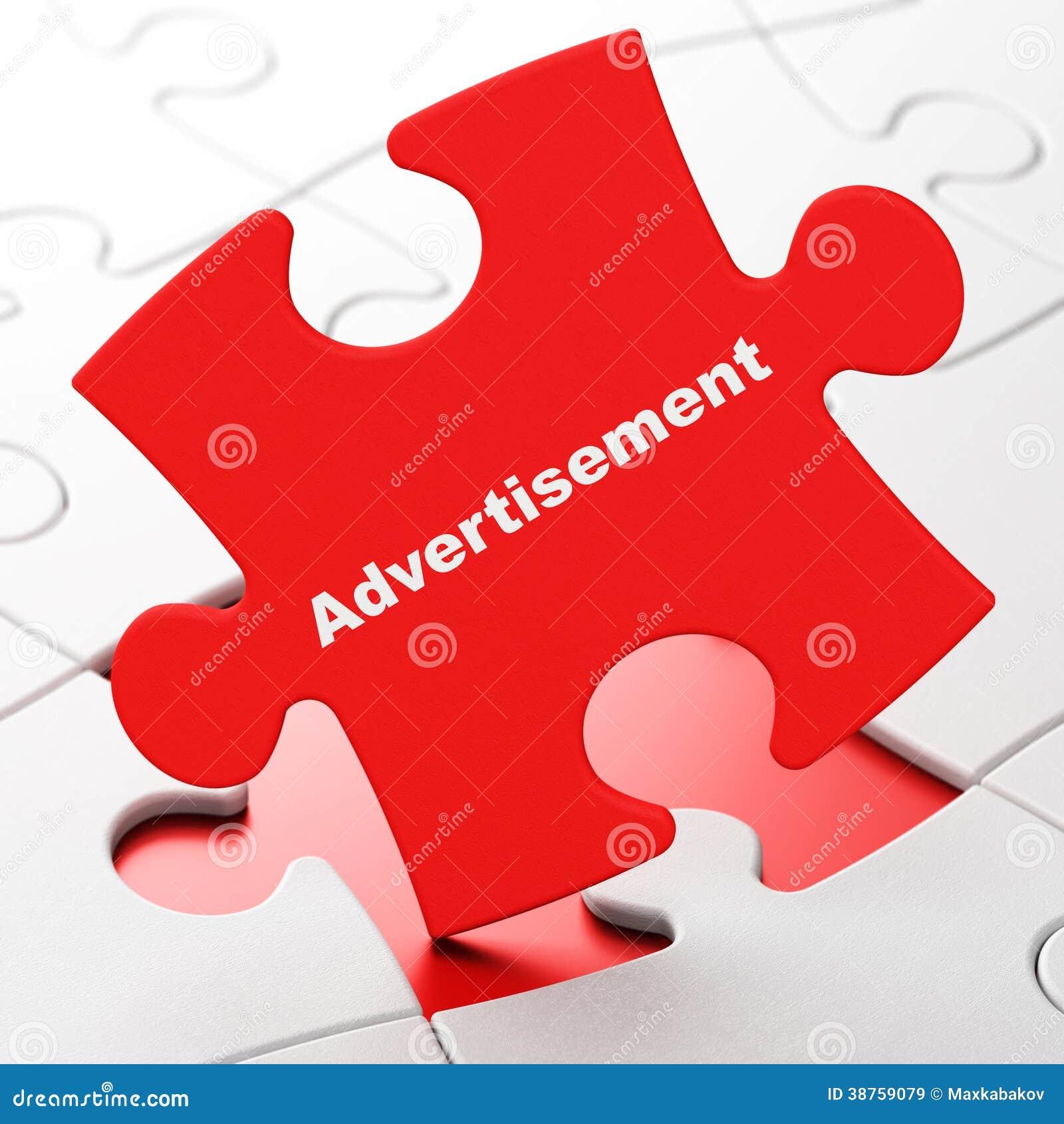 Έννοια μάρκετινγκ: Διαφήμιση στο υπόβαθρο γρίφων