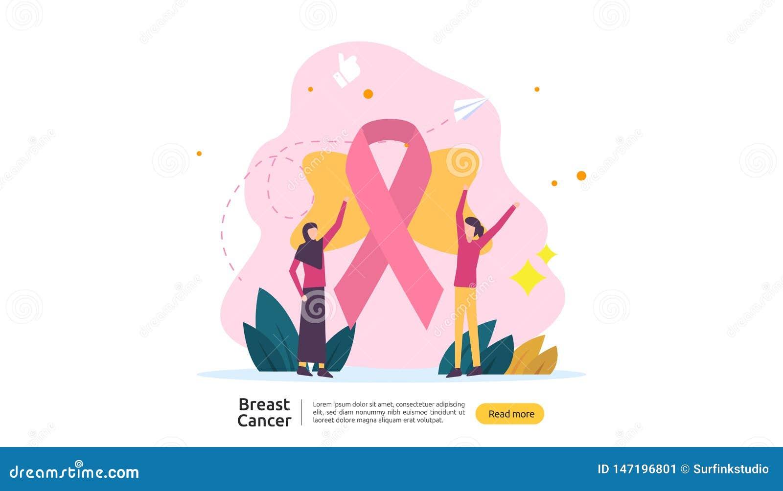 έννοια μήνα συνειδητοποίησης ημέρας καρκίνου του μαστού με τη ρόδινη κορδέλλα και θηλυκός χαρακτήρας κινουμένων σχεδίων μαζί για