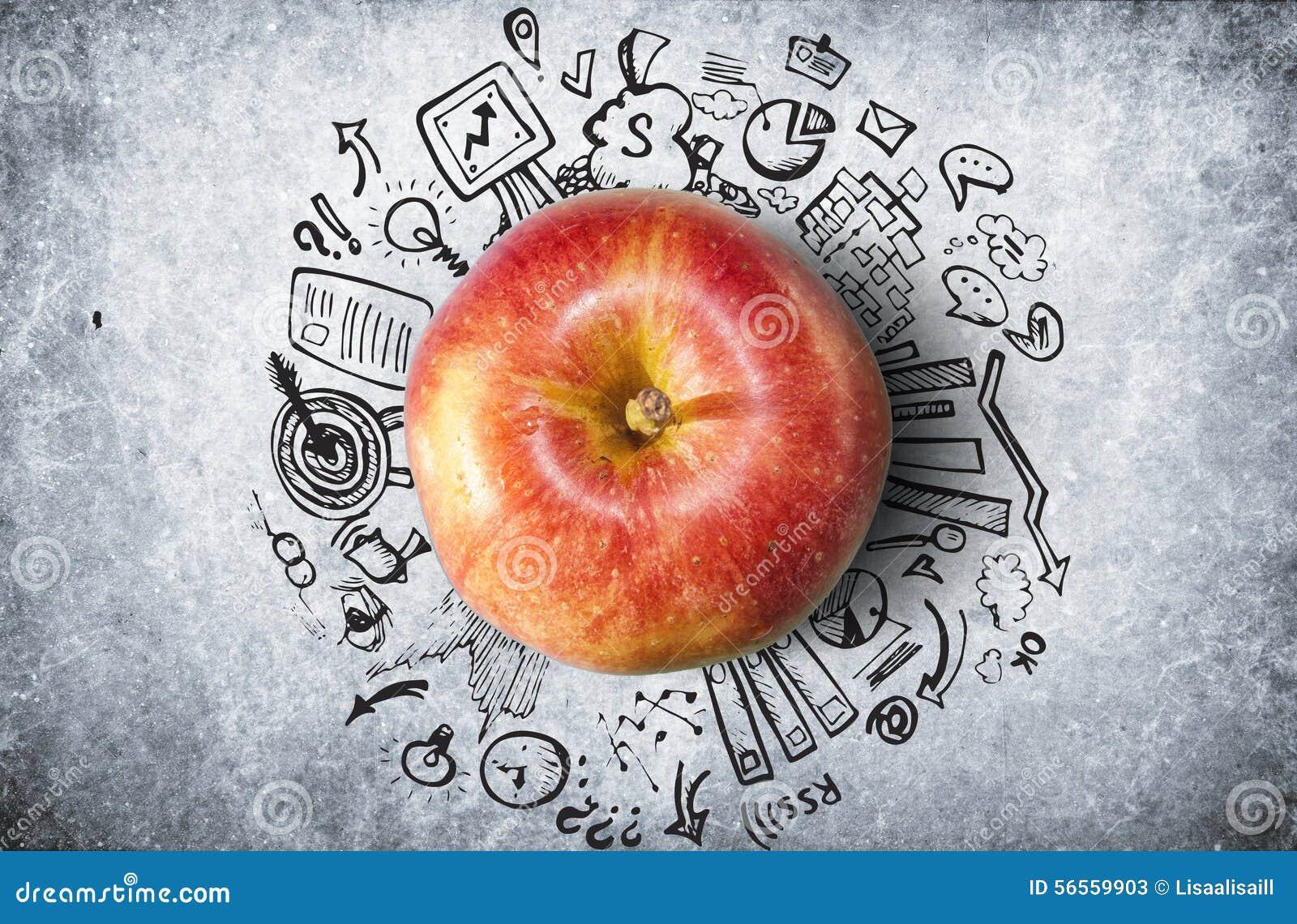 Download Έννοια με το μήλο και την επιχείρηση Doodles Απεικόνιση αποθεμάτων - εικονογραφία από δημιουργήστε, ανασκόπησης: 56559903