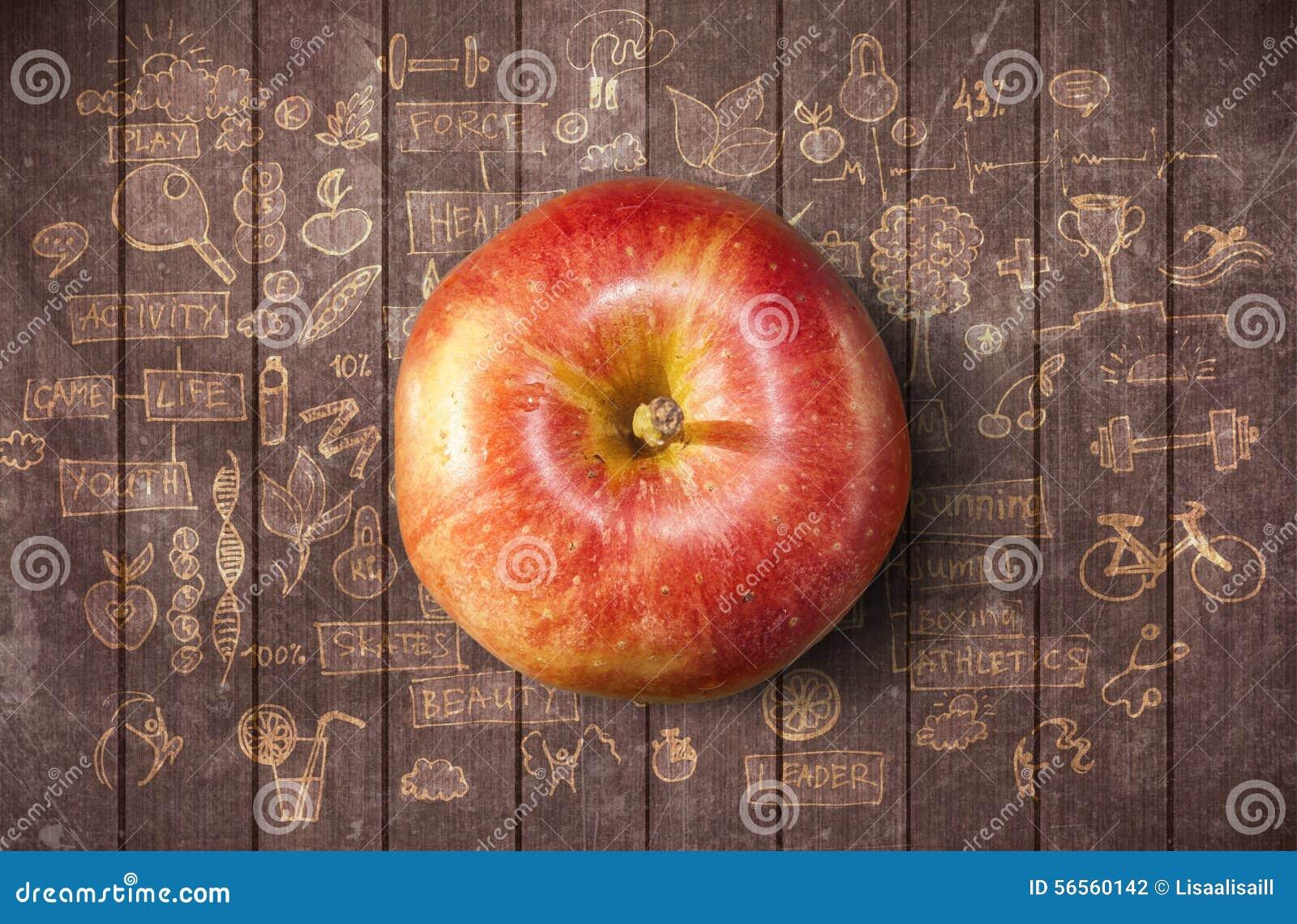 Download Έννοια με το μήλο και Doodles Στοκ Εικόνες - εικόνα από σχέδιο, υγιής: 56560142