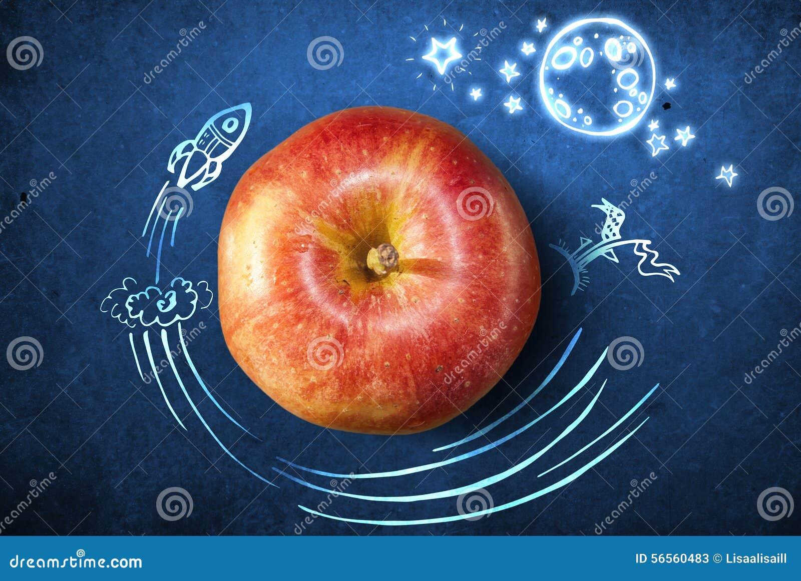 Download Έννοια με το μήλο και Doodles Απεικόνιση αποθεμάτων - εικονογραφία από κύκλος, εξωτερικός: 56560483