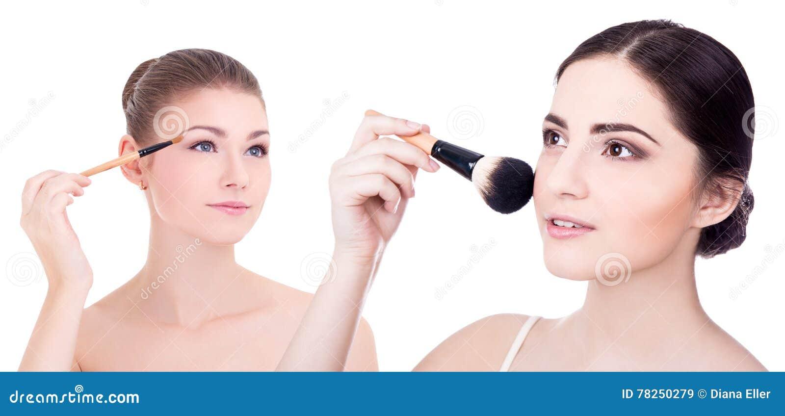 Έννοια ομορφιάς - κλείστε επάνω τα πορτρέτα του νέου όμορφου πνεύματος γυναικών