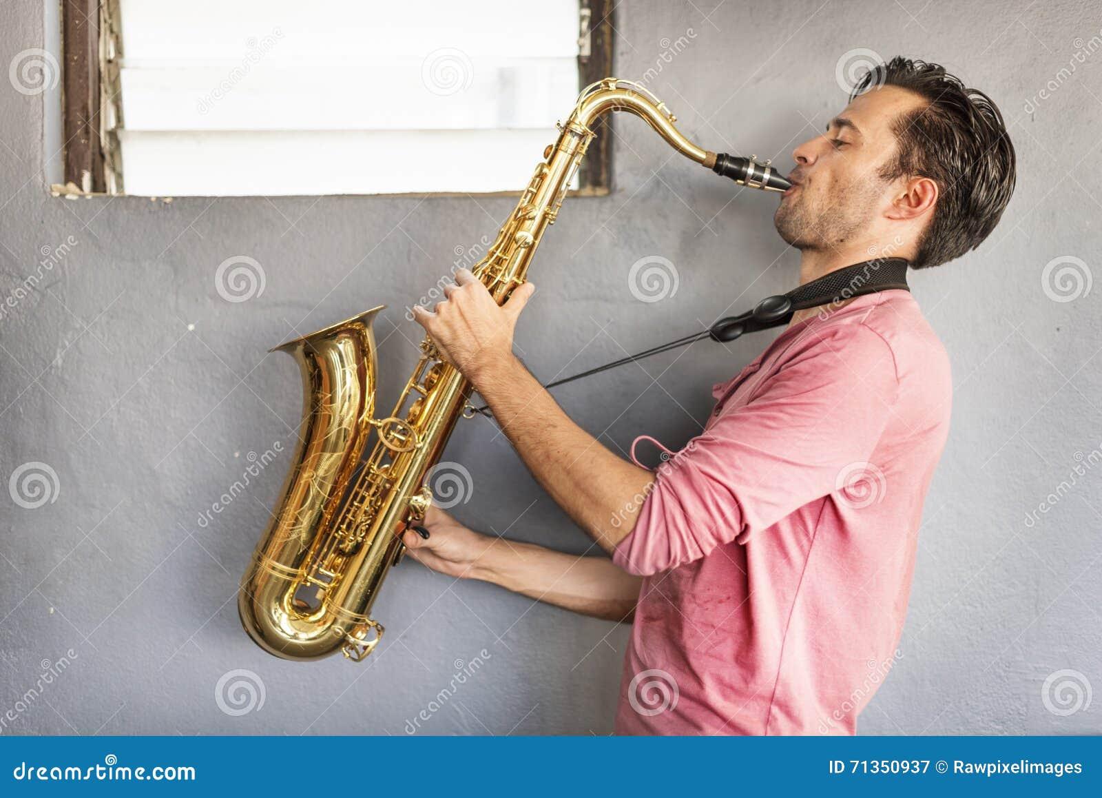 Έννοια πάθους καλλιτεχνών Saxophone Jazz μουσικών