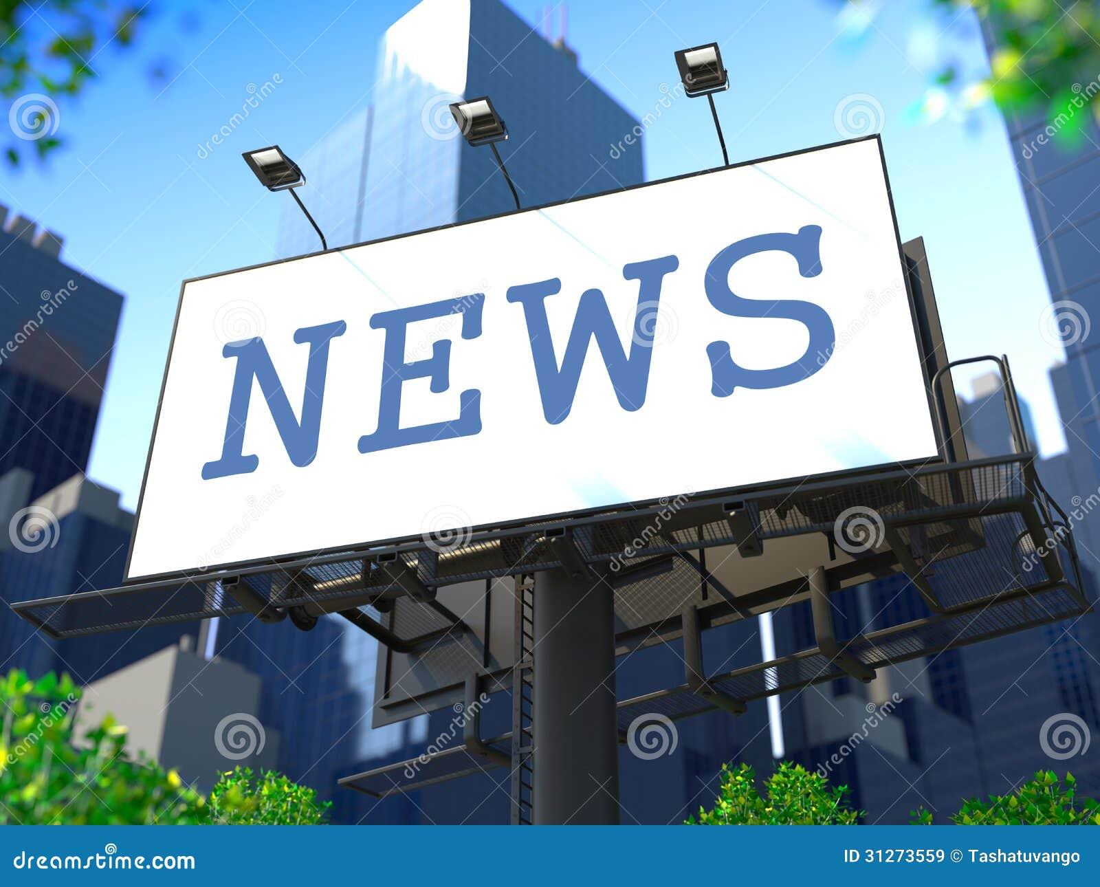 Έννοια παγκόσμιων ειδήσεων στον πίνακα διαφημίσεων.