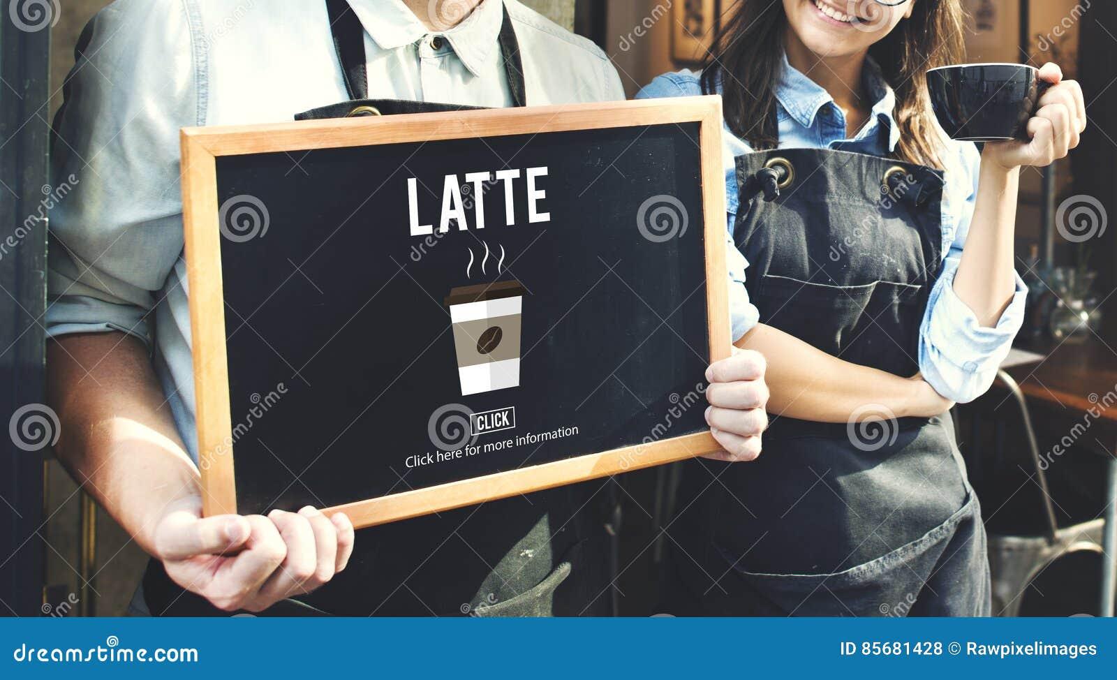 Έννοια ποτών καφεΐνης αφρού αφρού γάλακτος καφέ Latte