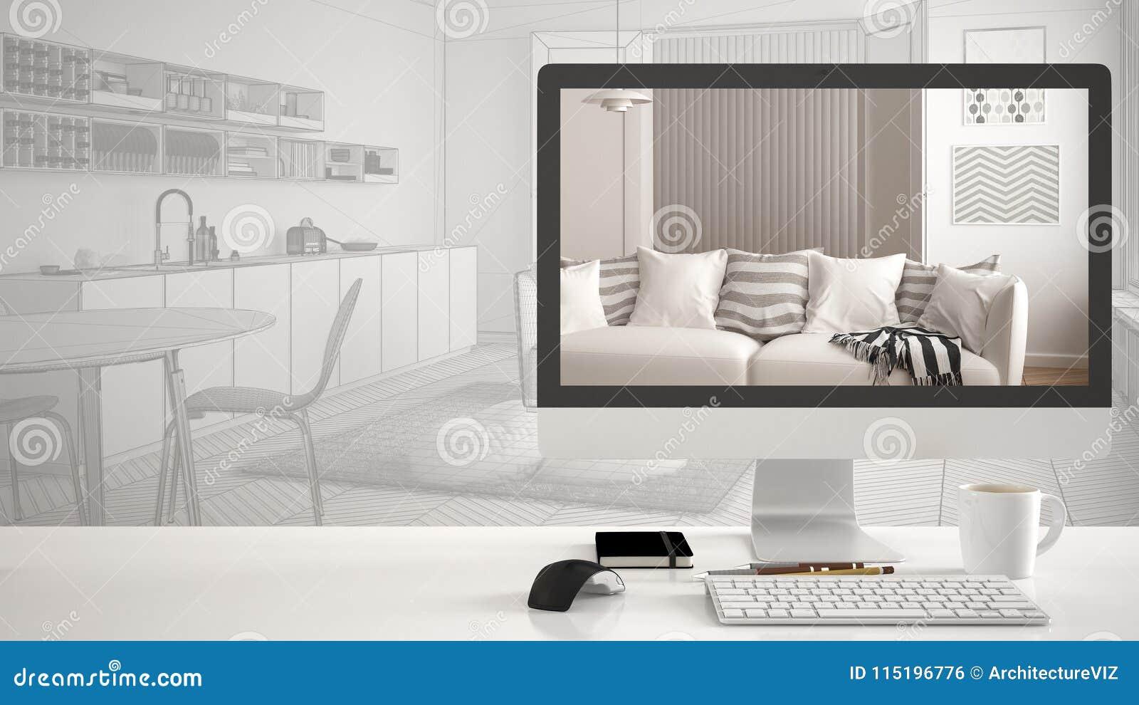 Έννοια προγράμματος σπιτιών αρχιτεκτόνων, υπολογιστής γραφείου στο άσπρο γραφείο εργασίας που παρουσιάζει σύγχρονο καθιστικό, εσω