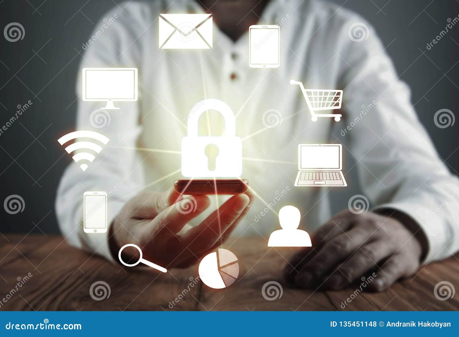 Έννοια προστασίας δεδομένων και cyber ασφάλειας Ασφάλεια πληροφοριών Έννοια της επιχείρησης και της τεχνολογίας Διαδικτύου