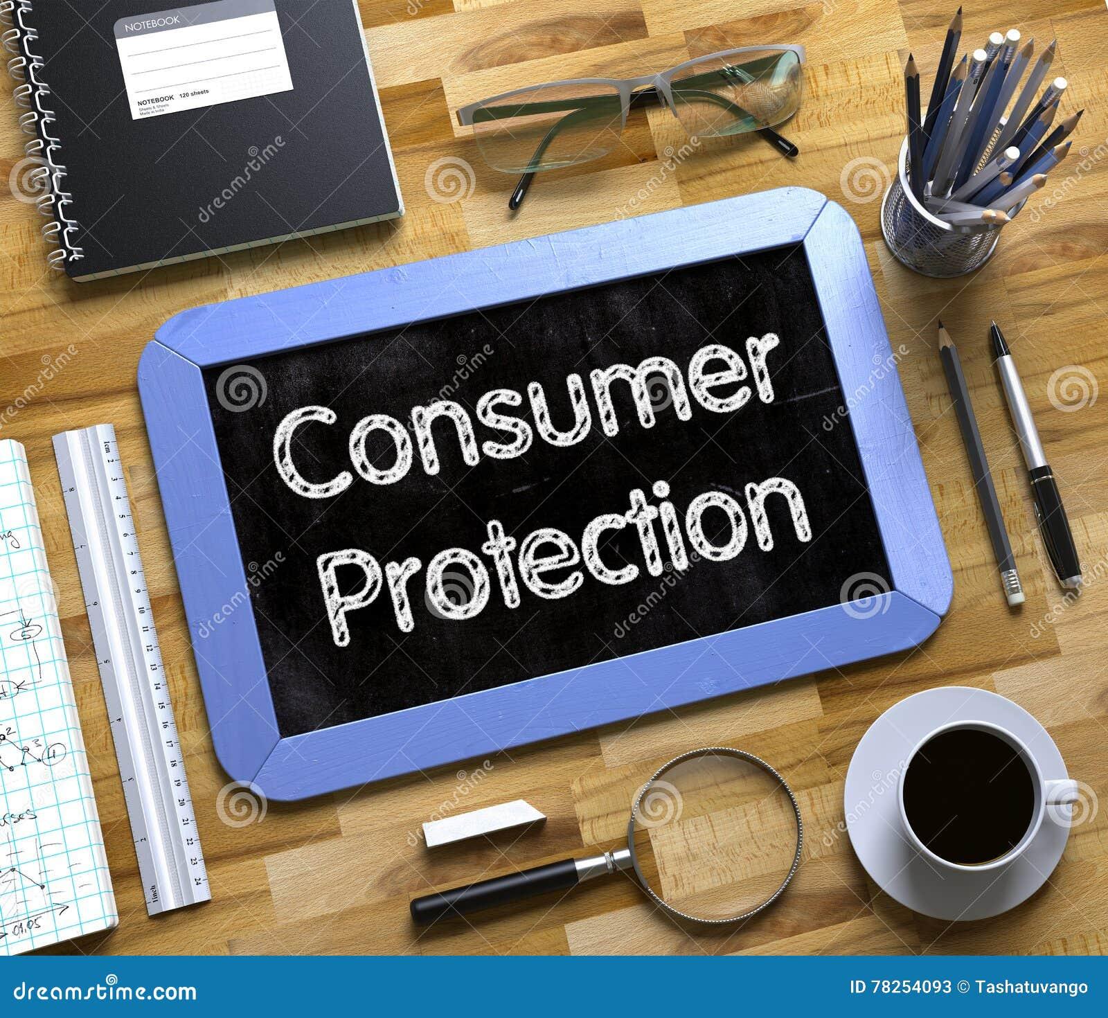 Έννοια προστασίας καταναλωτών στο μικρό πίνακα κιμωλίας τρισδιάστατος