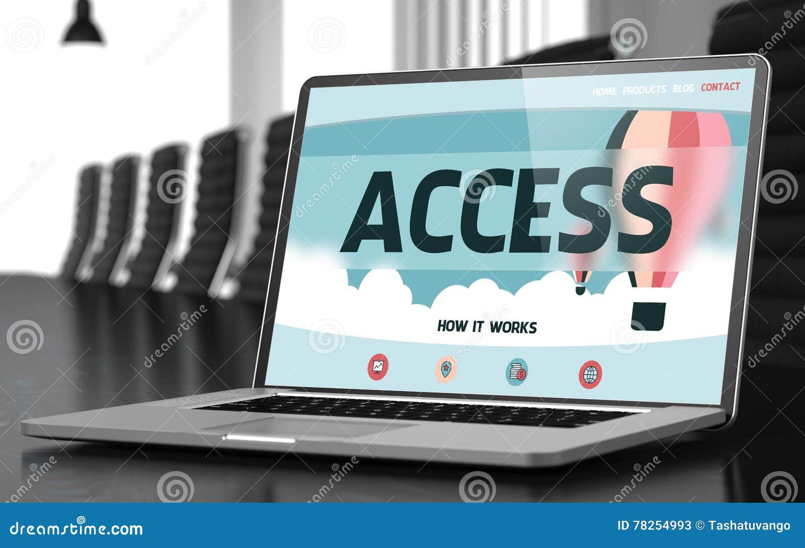 Έννοια πρόσβασης στην οθόνη lap-top τρισδιάστατος