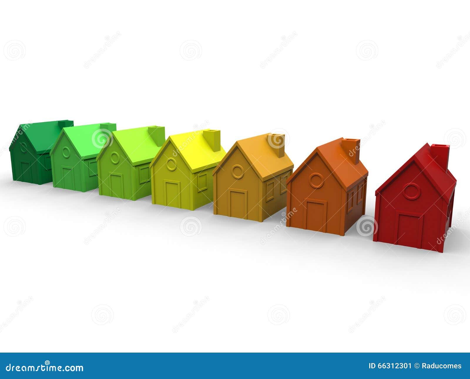 Έννοια σπιτιών ενεργειακής αποδοτικότητας