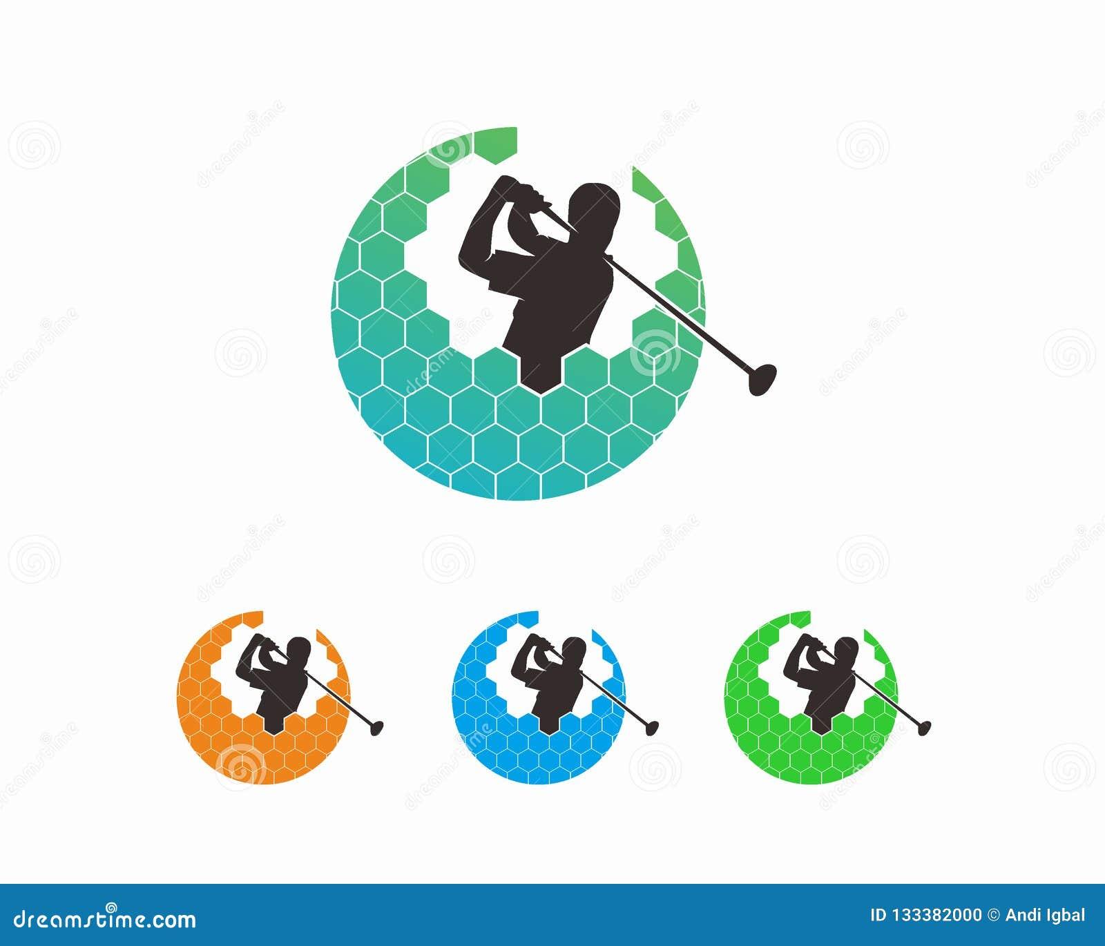 Έννοια σχεδίου λογότυπων γκολφ, πρότυπο λογότυπων αθλητικών πρωταθλημάτων