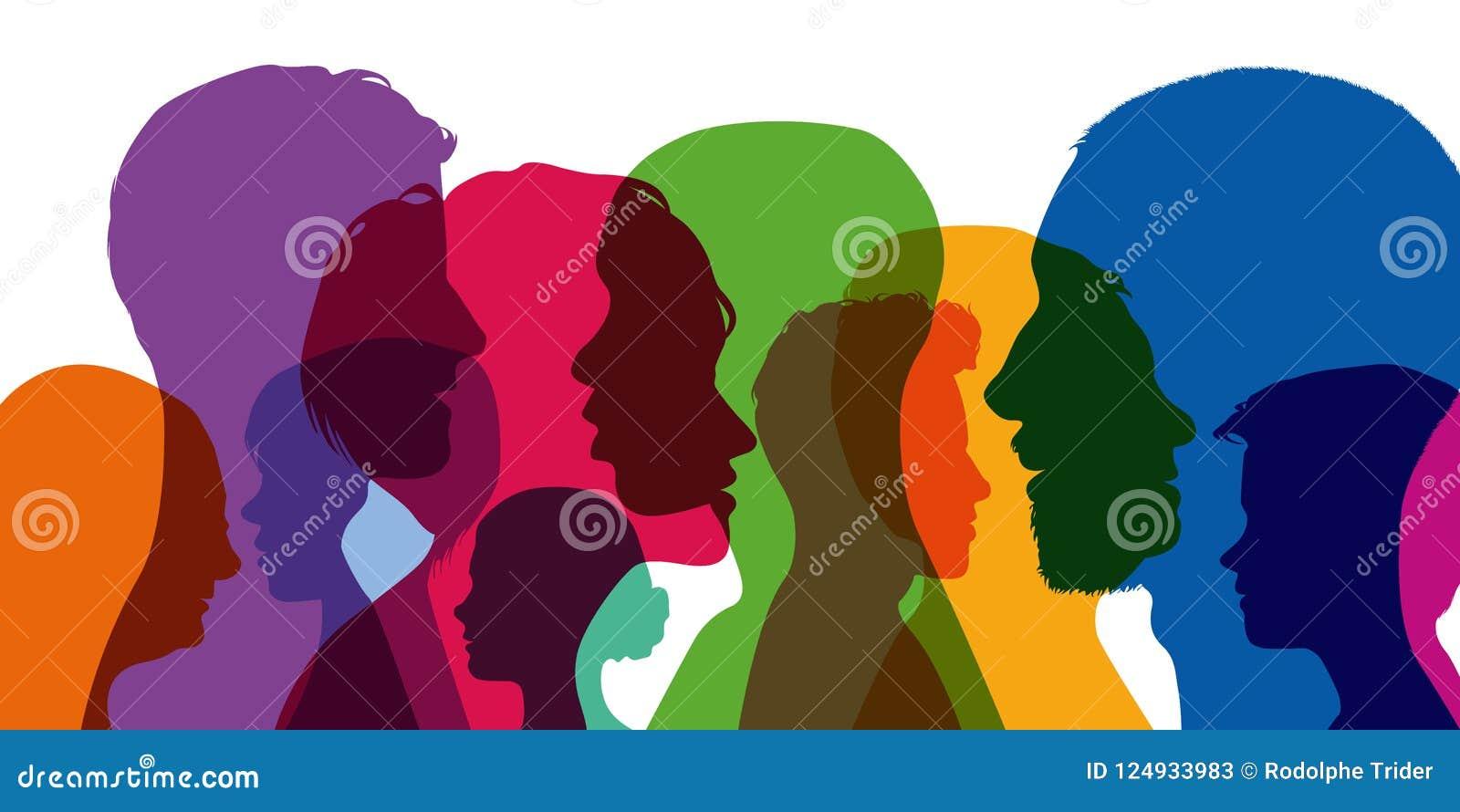 Έννοια της ποικιλομορφίας της ανθρωπότητας με το superposition των διαφορετικών σχεδιαγραμμάτων