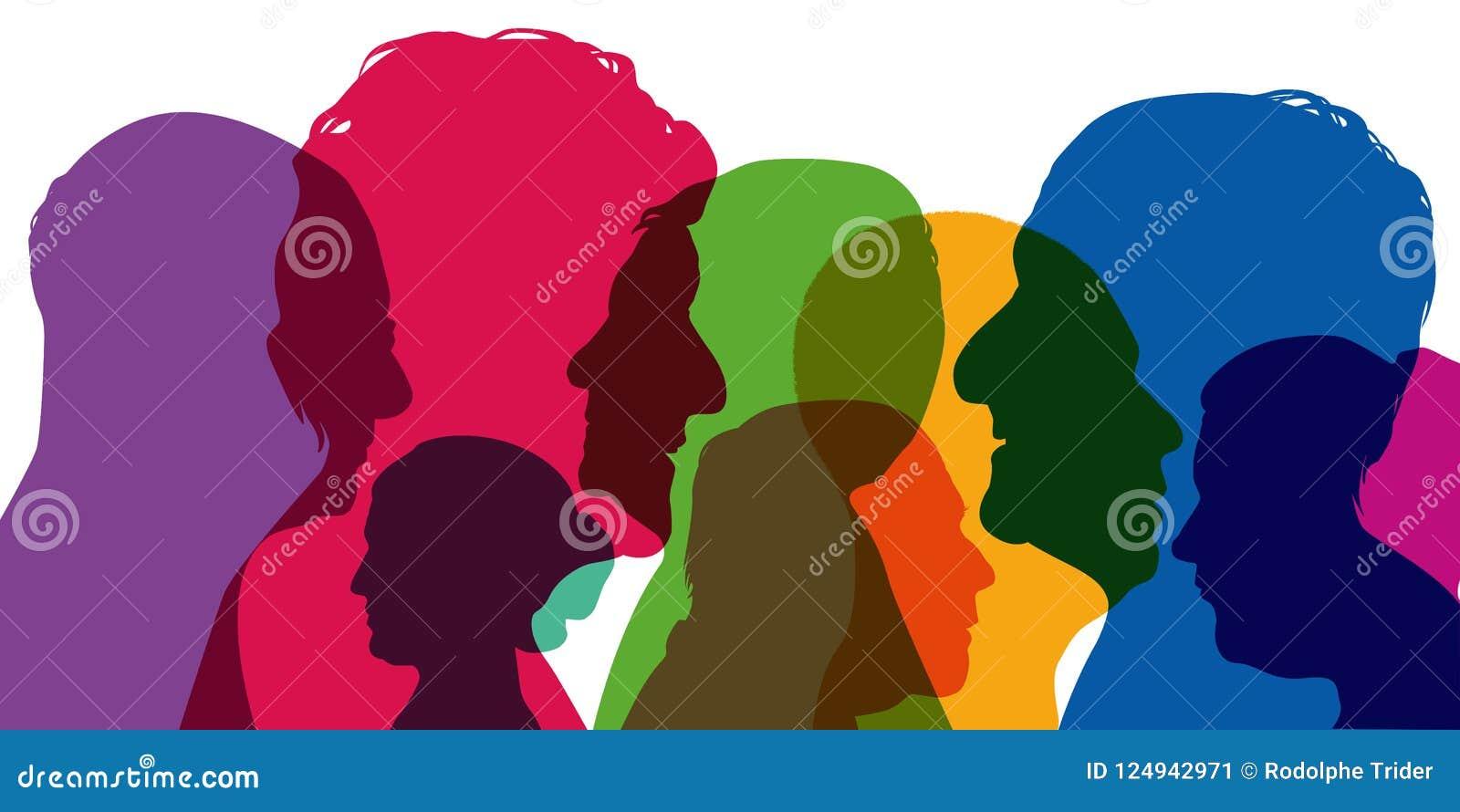 Έννοια της ποικιλομορφίας, με τις σκιαγραφίες στα χρώματα  παρουσίαση διαφορετικών σχεδιαγραμμάτων των νεαρών άνδρων και των γυνα