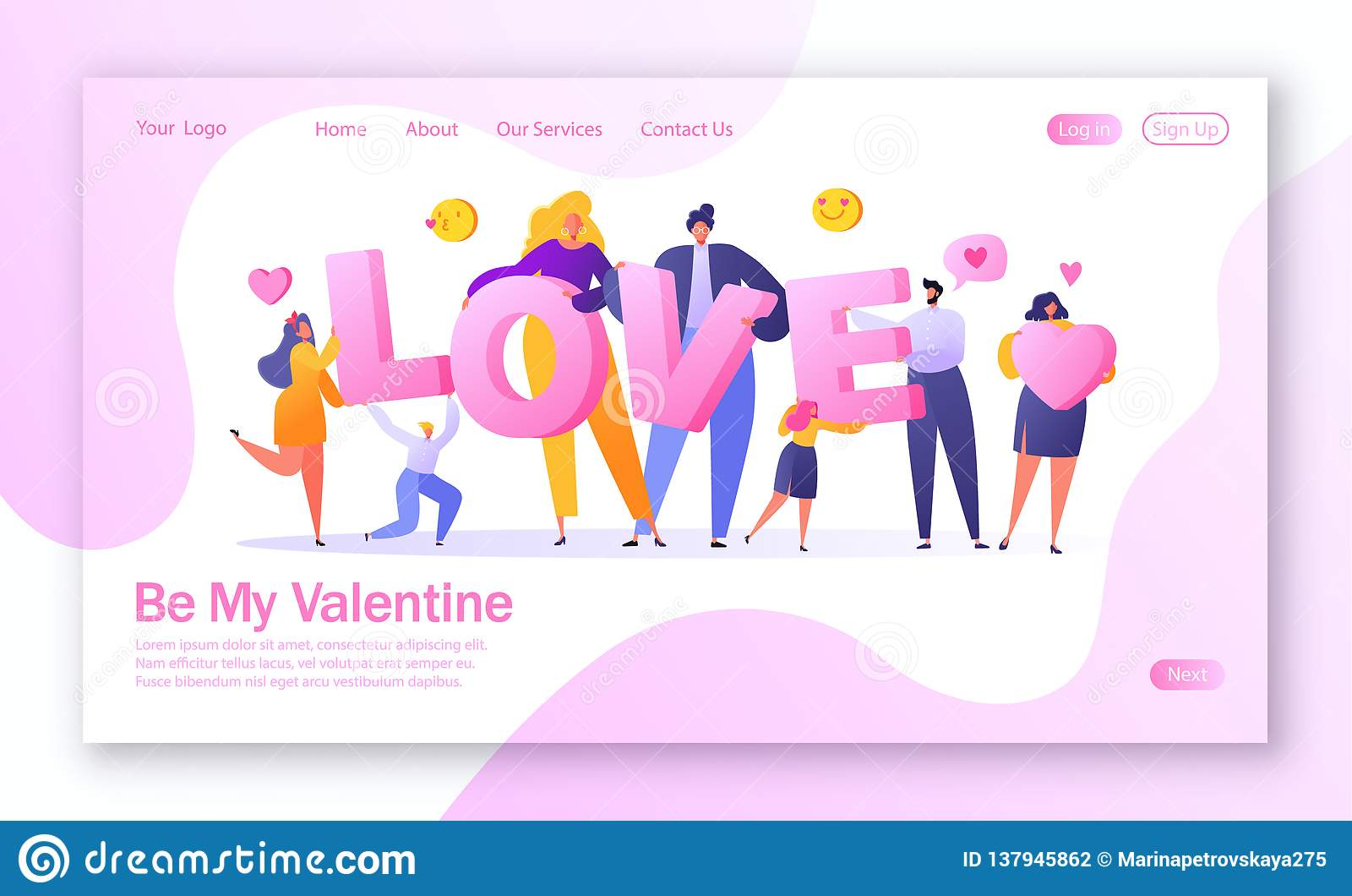 Έννοια της προσγειωμένος σελίδας στο θέμα ιστορίας αγάπης Ευτυχής επίπεδος χαρακτήρας ανθρώπων που κρατά τη μεγάλη ΑΓΑΠΗ γραμμάτω