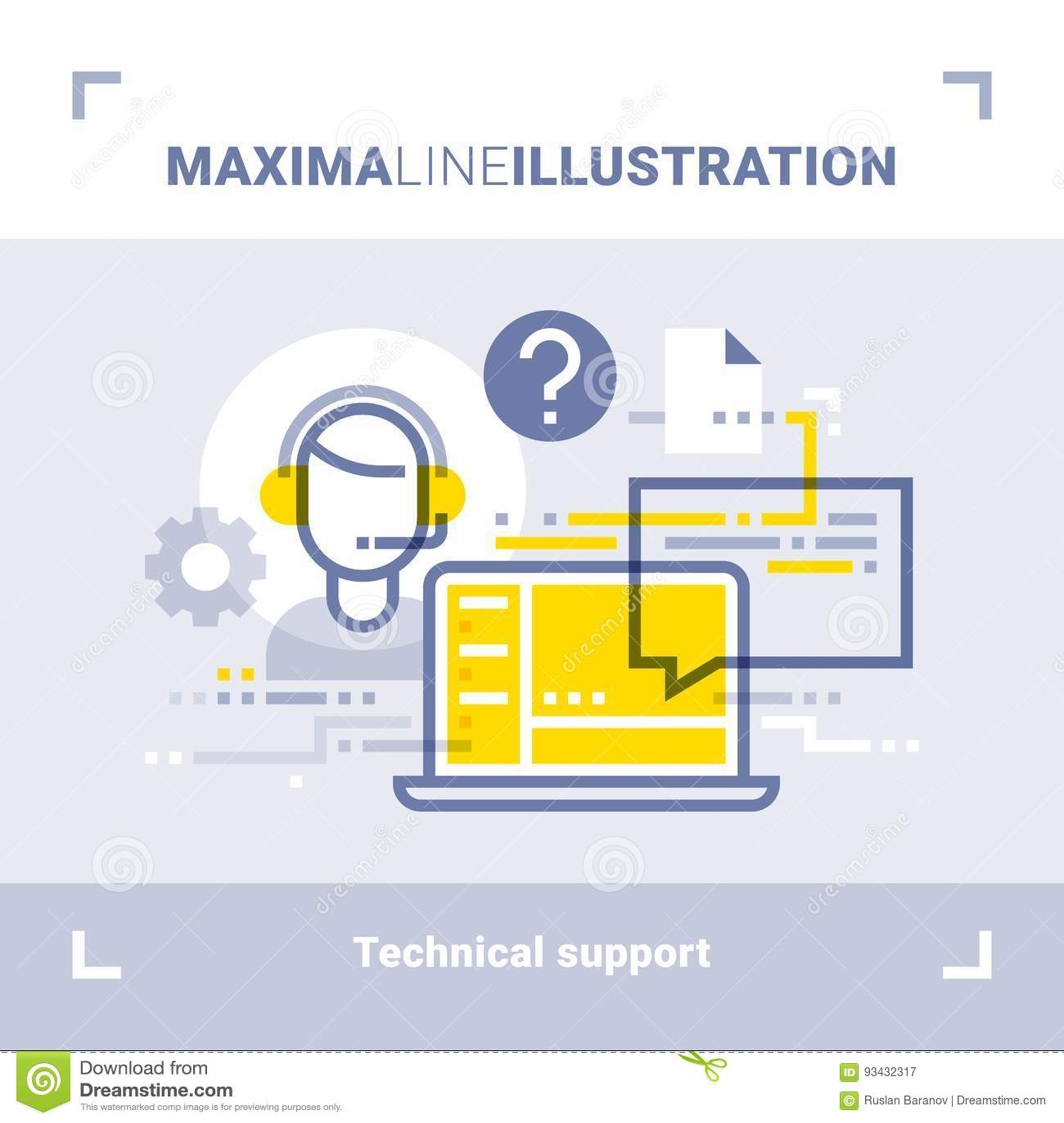 Έννοια της σε απευθείας σύνδεση υποστήριξης και του τηλεφωνικού κέντρου τεχνολογίας Απεικόνιση γραμμών μεγίστων Σύγχρονο επίπεδο