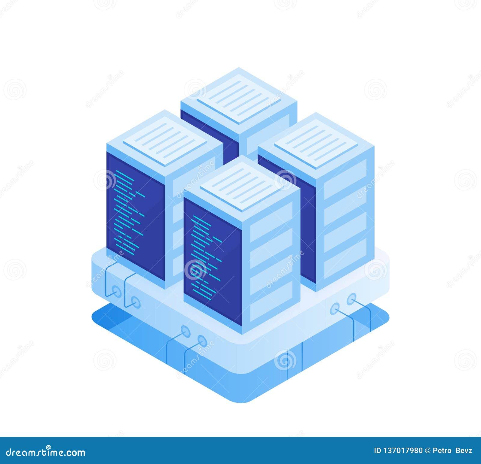 Έννοια του δωματίου κεντρικών υπολογιστών Φιλοξενία με την αποθήκευση στοιχείων σύννεφων και το δωμάτιο κεντρικών υπολογιστών Ράφ