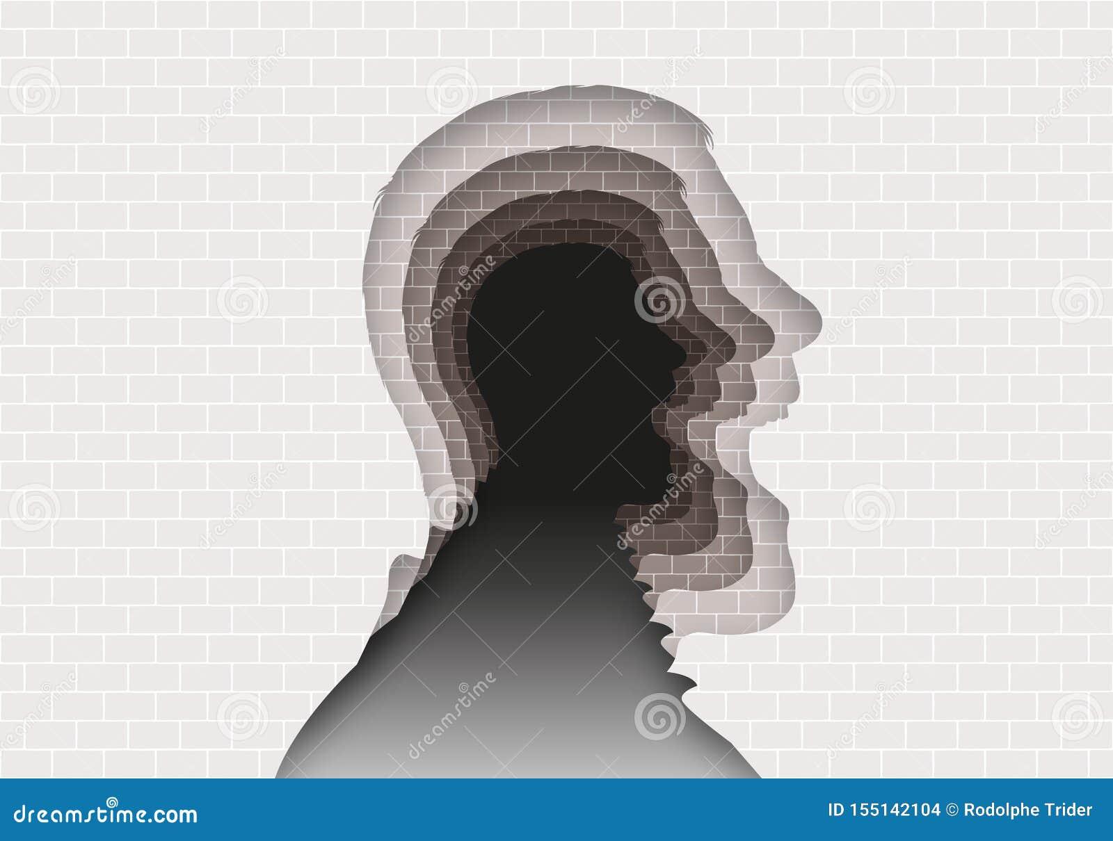 Έννοια του μυστηρίου των διανοητικών ασθενειών με ένα επικεφαλής σχεδιάγραμμα που επαναλαμβάνεται στο άπειρο