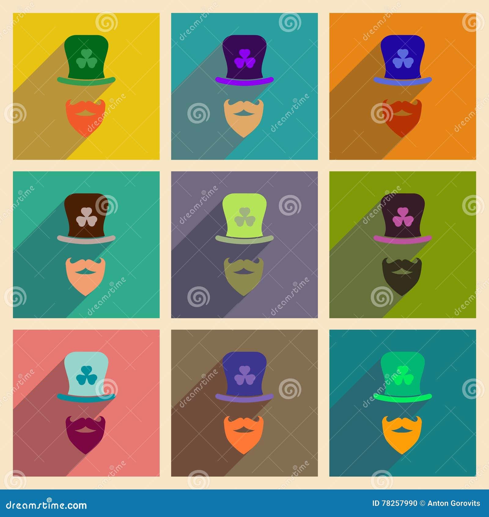 Έννοια των επίπεδων εικονιδίων με τη μακριά γενειάδα καπέλων σκιών ιρλανδική