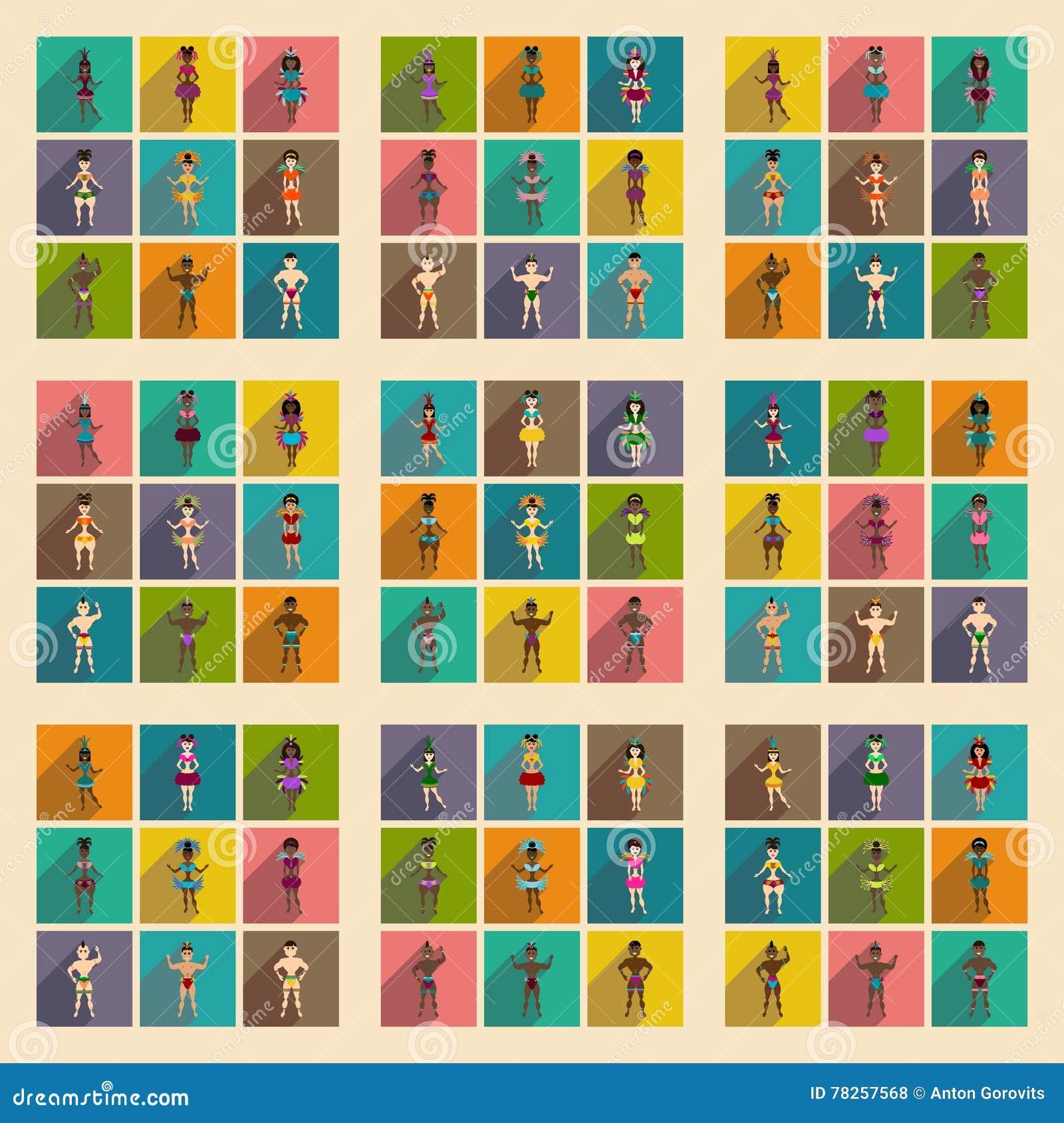 Έννοια των επίπεδων εικονιδίων με το μακρύ βραζιλιάνο χορευτή σκιών
