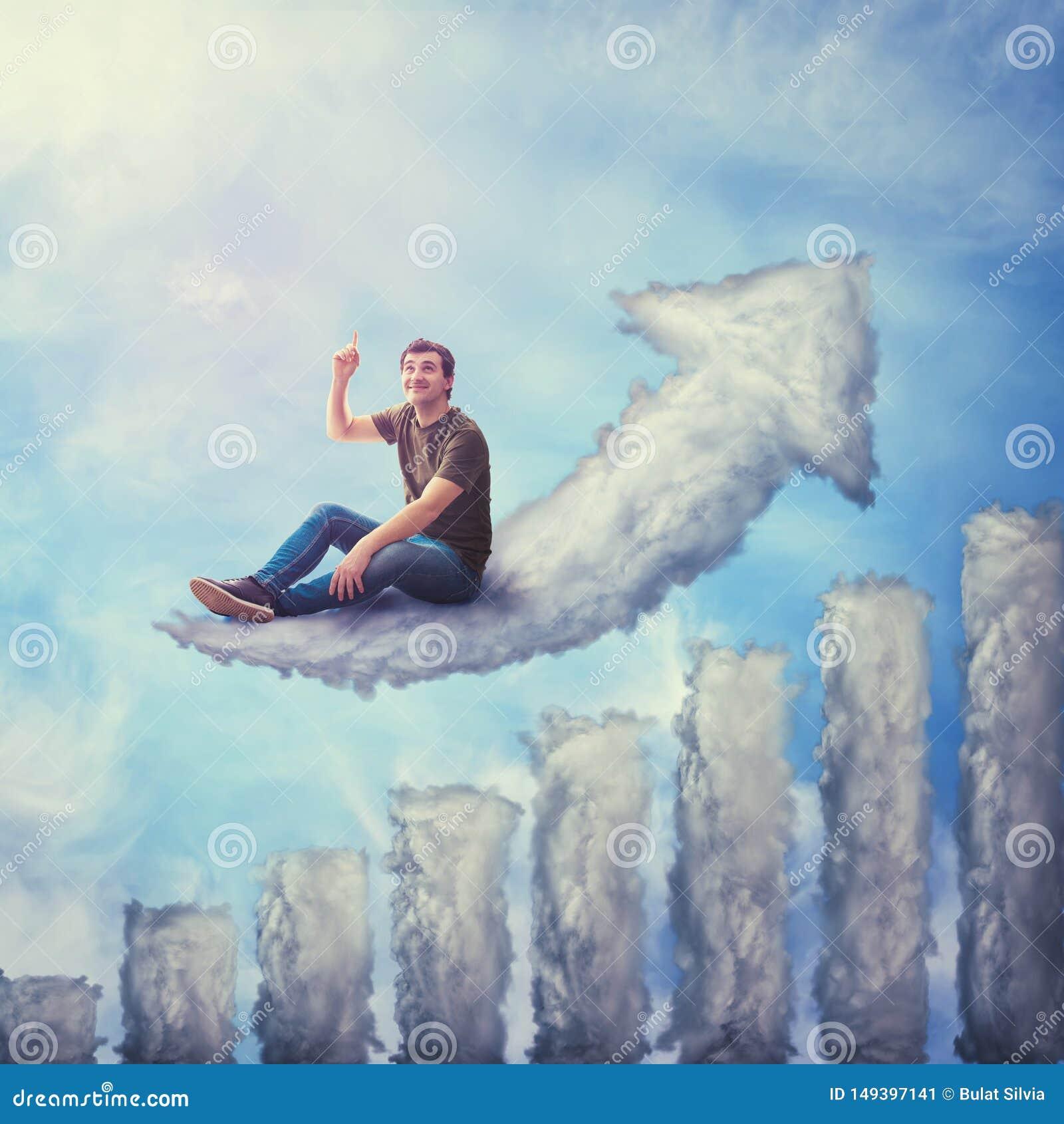 Έννοια φαντασίας ως συγκινημένο τύπο που κάθεται σε ένα σύννεφο που διαμορφώνεται ως αυξανόμενη γραφική παράσταση, ανατρέχοντας κ