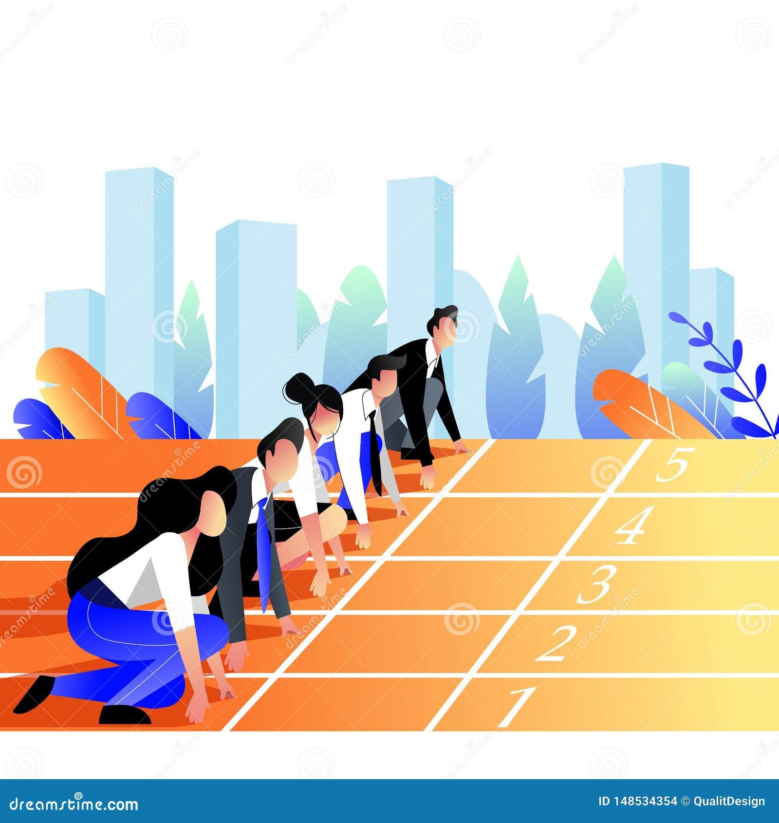 Έννοια φυλών επιχειρηματιών Παραταγμένο επιχειρηματίες να πάρει έτοιμος για το τρέξιμο στην αθλητική διαδρομή r
