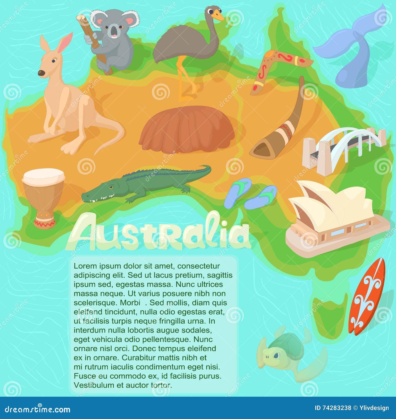 Έννοια χαρτών της Αυστραλίας, ύφος κινούμενων σχεδίων