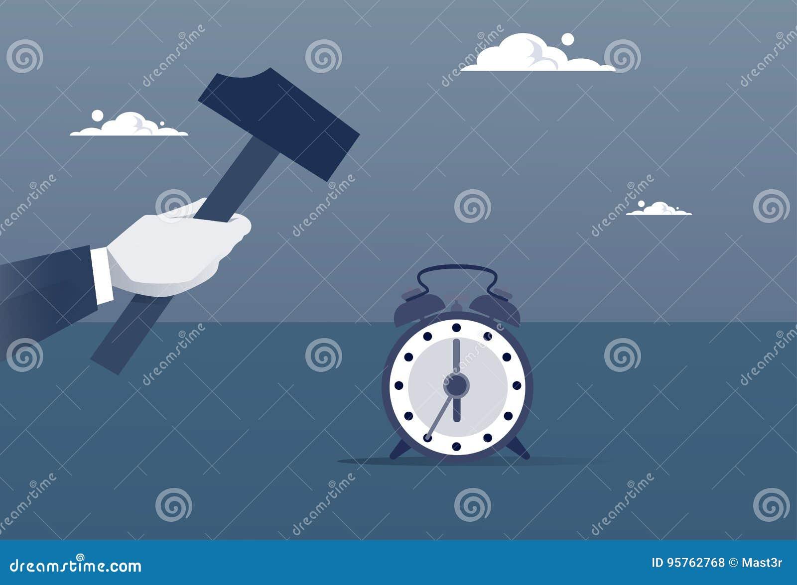 Έννοια χρονικής διαχείρισης ξυπνητηριών Broking σφυριών λαβής χεριών