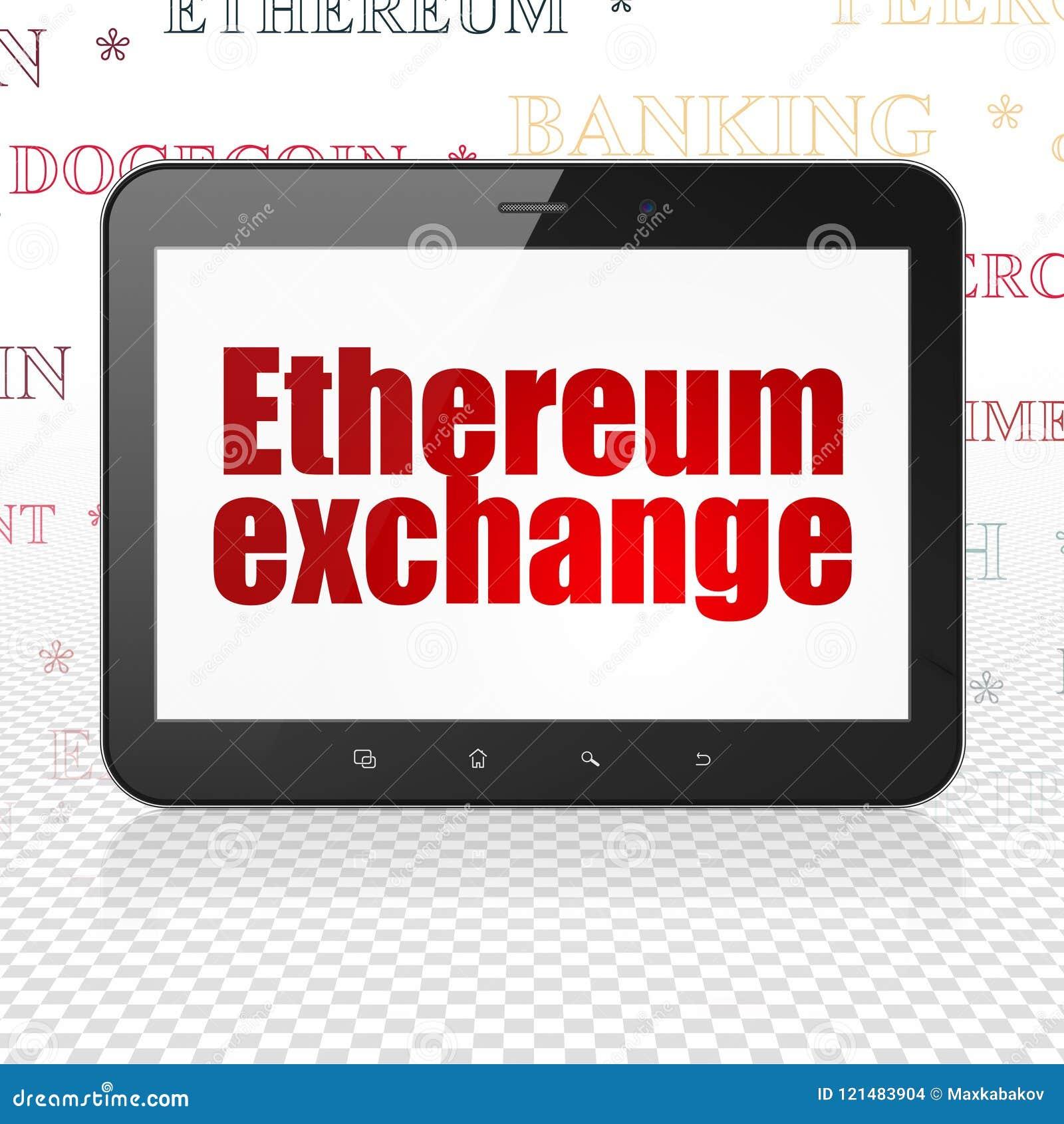 Έννοια Cryptocurrency: Υπολογιστής ταμπλετών με την ανταλλαγή Ethereum στην επίδειξη