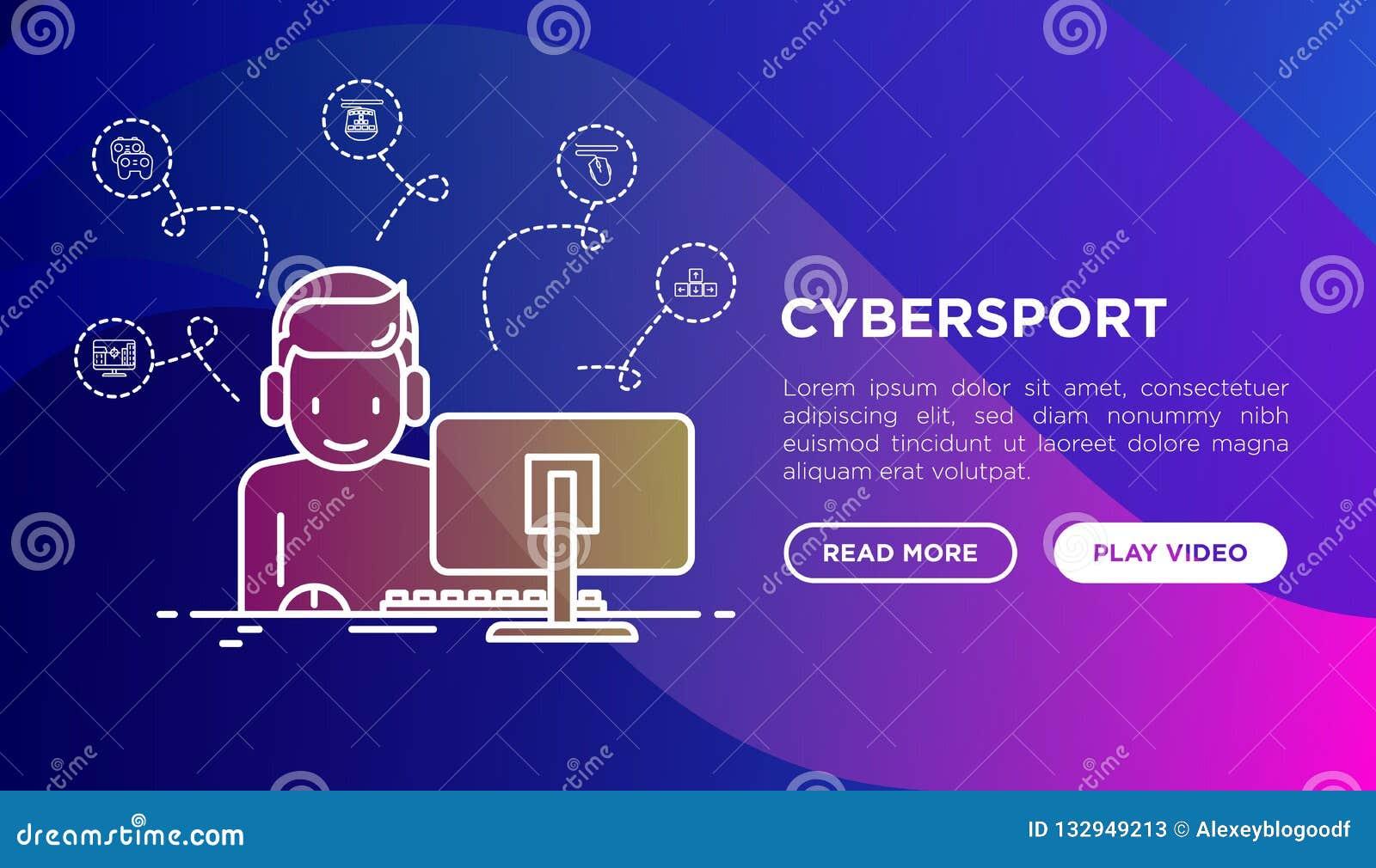 Έννοια Cybersport: gamer στο παιχνίδι κασκών στο PC