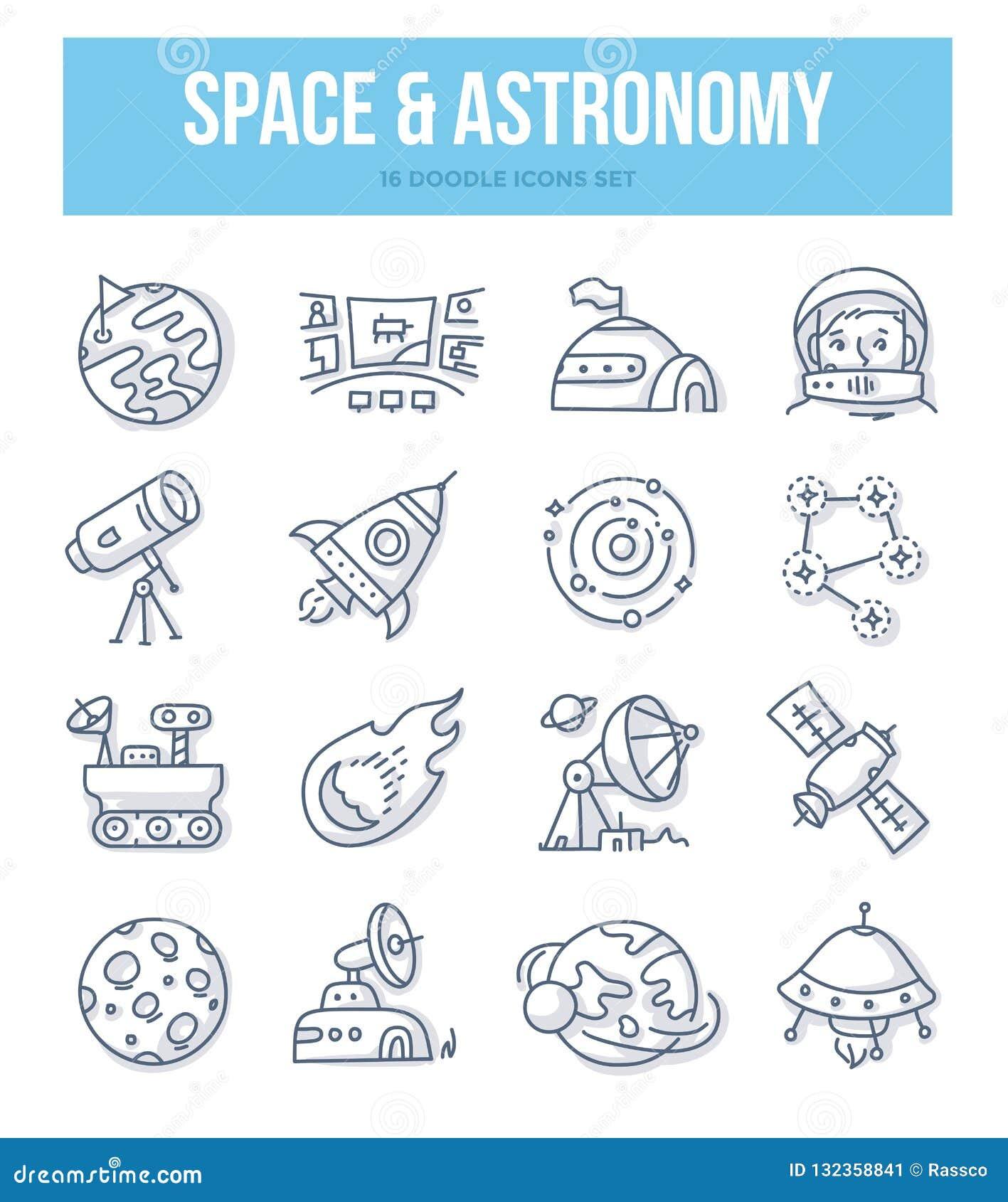 Έννοια Doodle διαστήματος & αστρονομίας