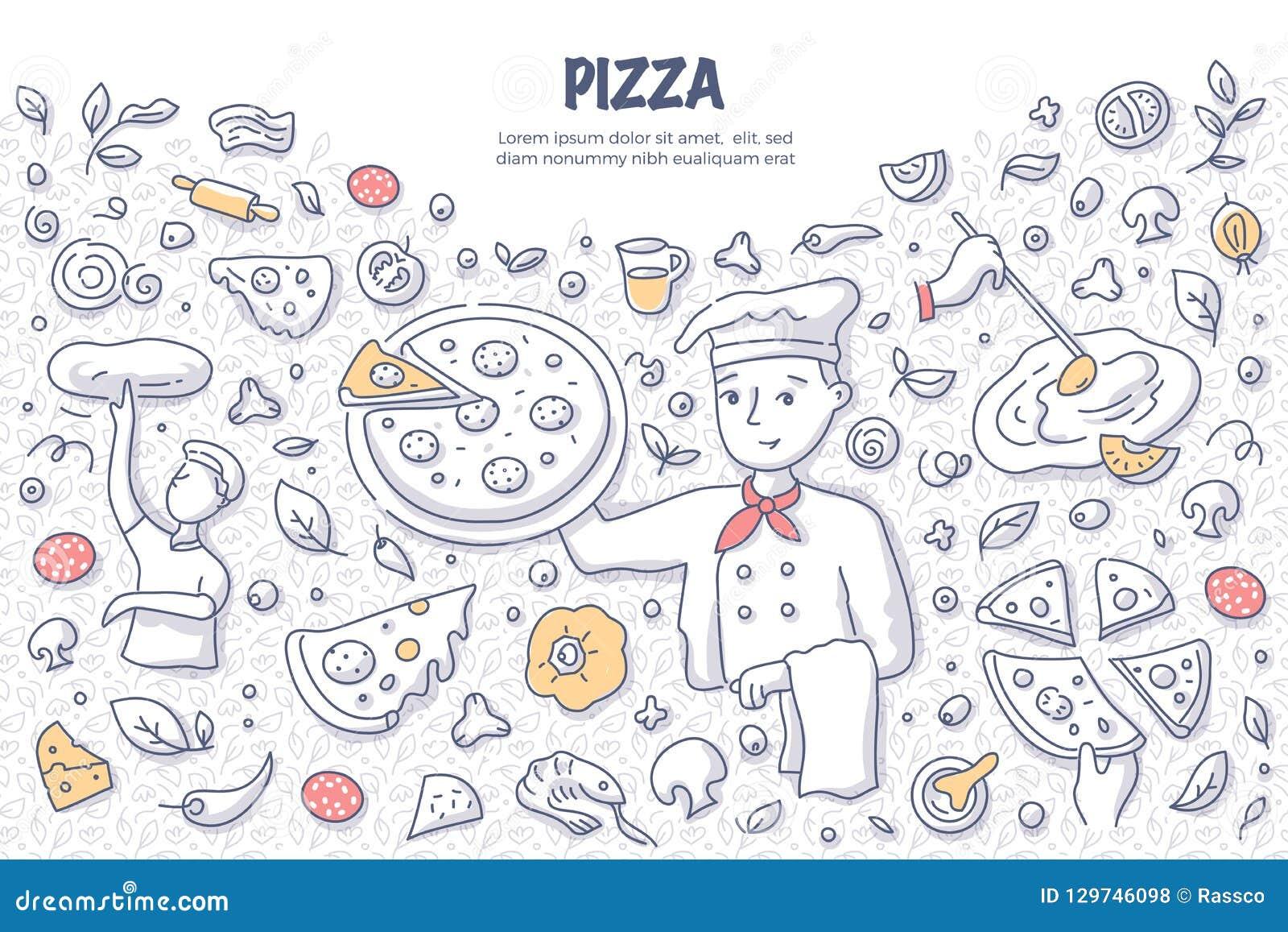 Έννοια Doodle πιτσών