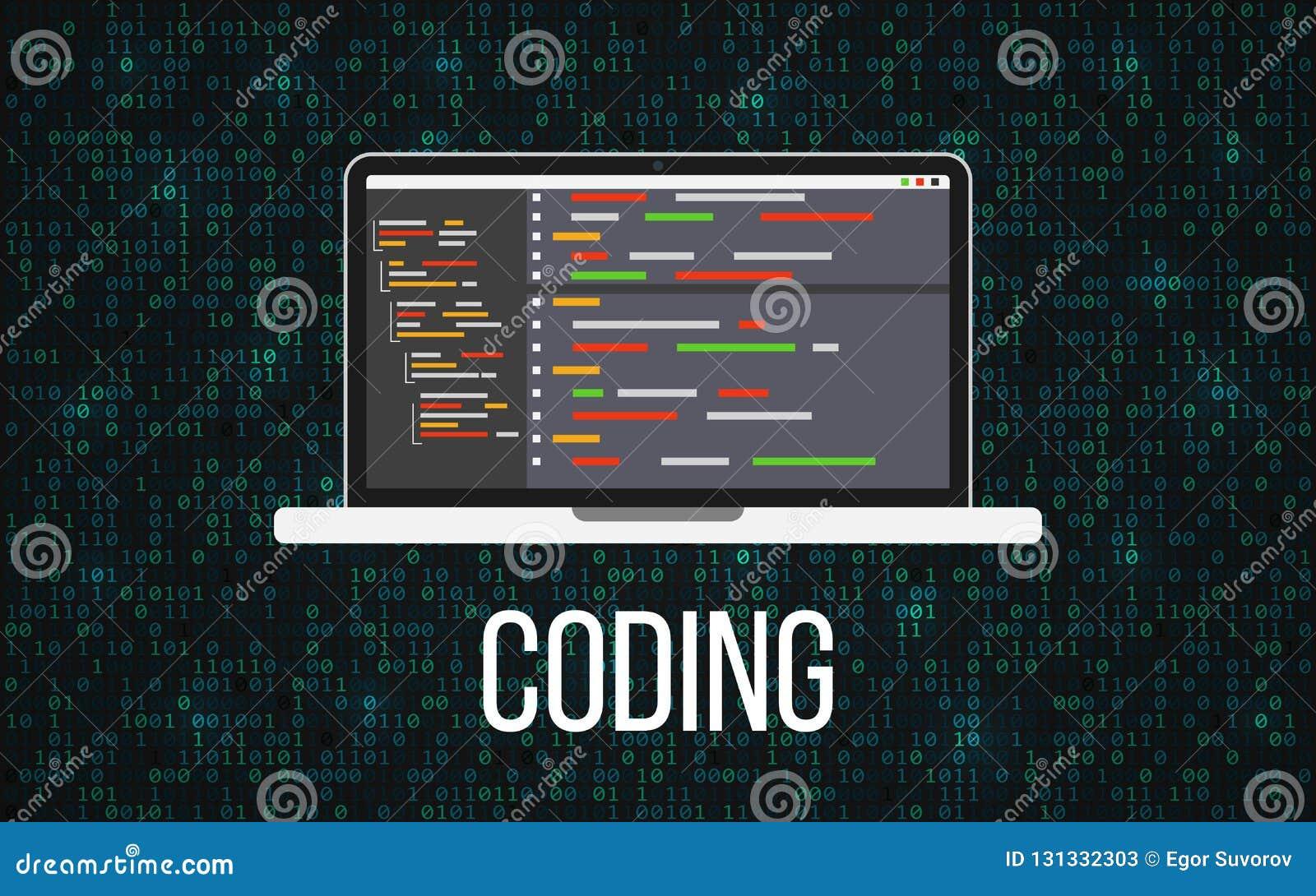 Έννοια lap-top κωδικοποίησης στο δυαδικό υπόβαθρο Σκηνικό υπολογιστών γραφείου και μητρών προγραμματισμού Όργανο ελέγχου με τον κ