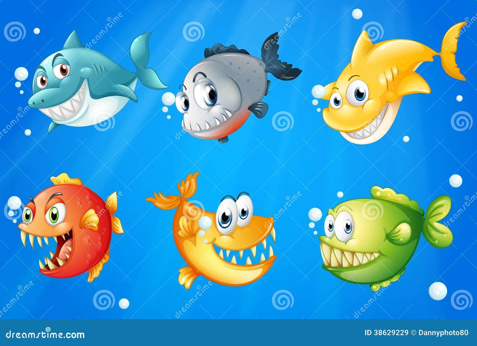 Έξι ζωηρόχρωμα ψάρια κάτω από τα μεγάλα θαλάσσια βάθη