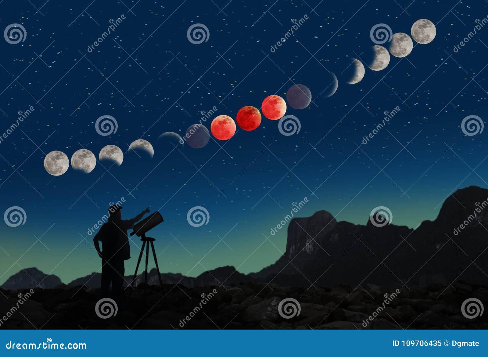 Έξοχη μπλε ακολουθία και άτομο έκλειψης φεγγαριών αίματος με το τηλεσκόπιο